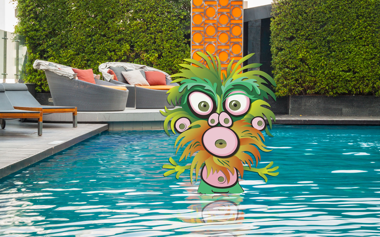Barney takes a dip.