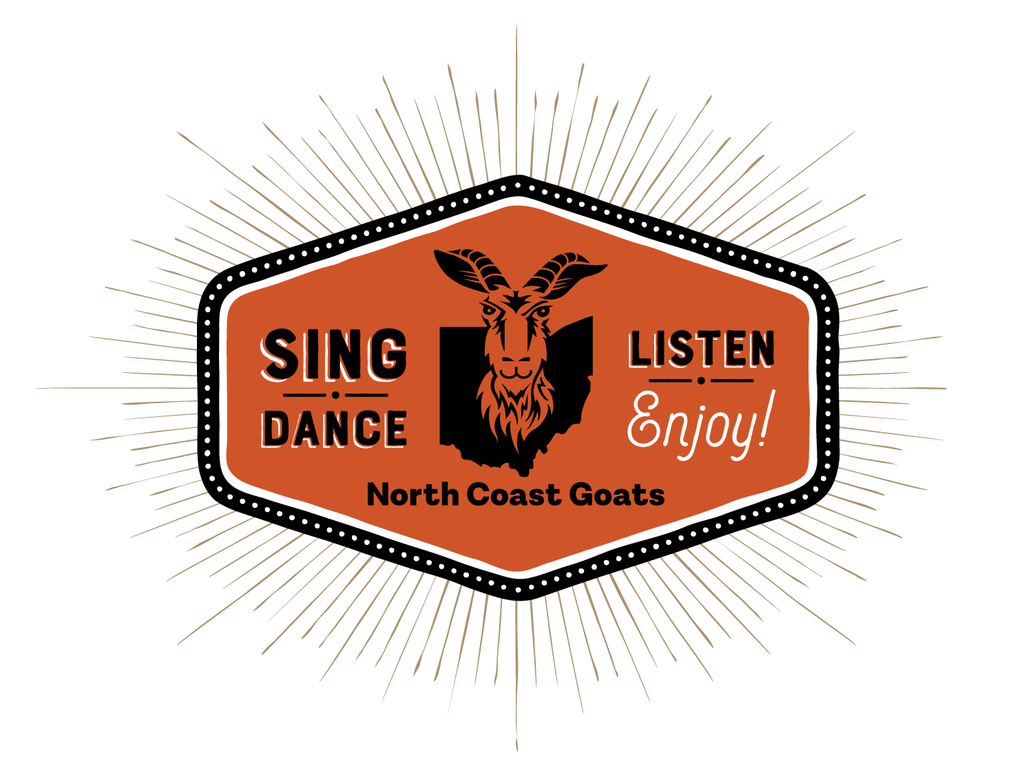 North Coast Goats badge design - Sing, Dance, Listen and Enjoy!
