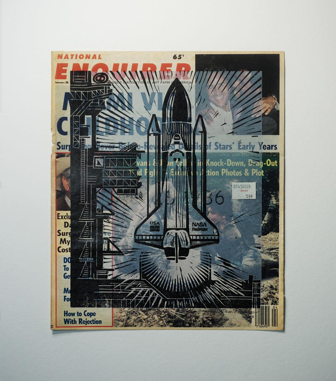 News - January 28, 1986,  2-color linoleum print on vintage newspaper.