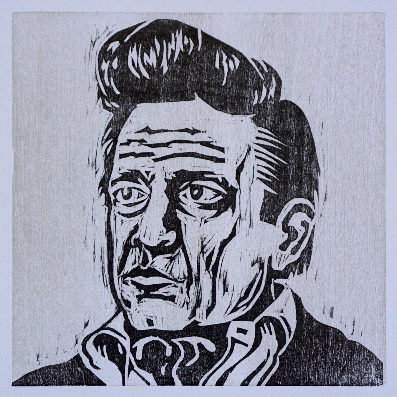 Johnny Cash,  2-color woodcut print.