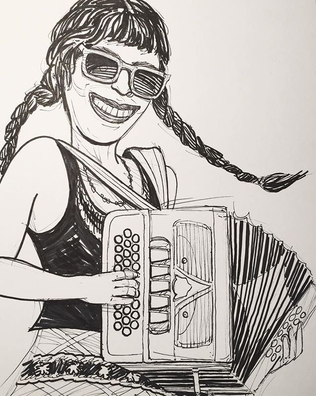 The lovely Jen Maurer from the equally lovely Mo' Mojo. They are a super funky zydeco band out of Akron, OH. I got to see their fantastic show at this year's Middle Bass Island Music Festival which I promote. #inktober #inktober2019 #akron #music #cleveland #middlebassisland @momojomusic