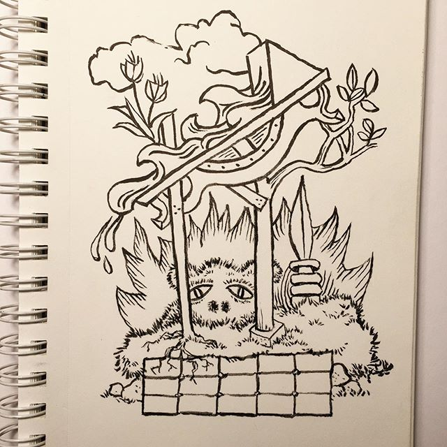This is a garden I'd like to build. #inktober #inktober2019 #garden #drawing #build