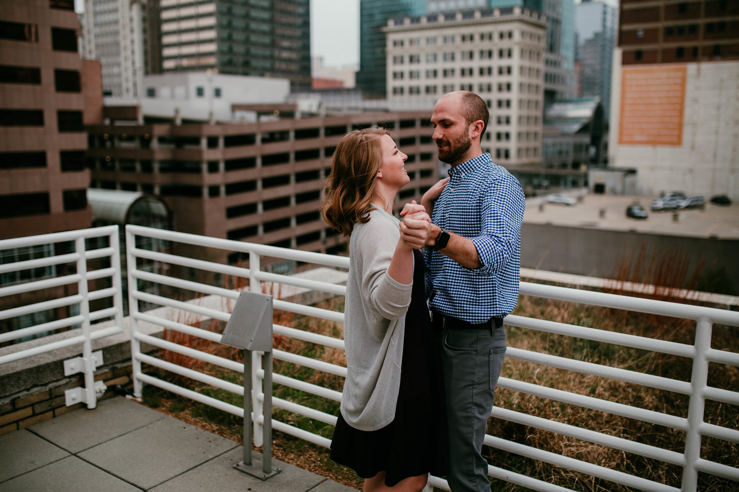 Alex & John: Downtown KC Engagement Session   Hannahill Photography   Kansas City, Mo   rooftop library session urban brick walls   engaged   couples portraits   wedding photographer   lifestyle photographer   documentary love story photographer