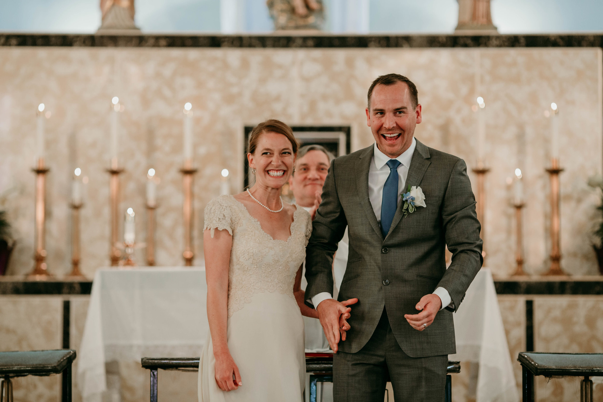 Bert & Lauren's North Kansas City Spring Wedding | Hannahill Photography | Raleigh Durham Photographer | North Carolina Wedding Photography | Family Photographer | Wedding photographer | bride and groom announced as husband and wife at catholic ceremony