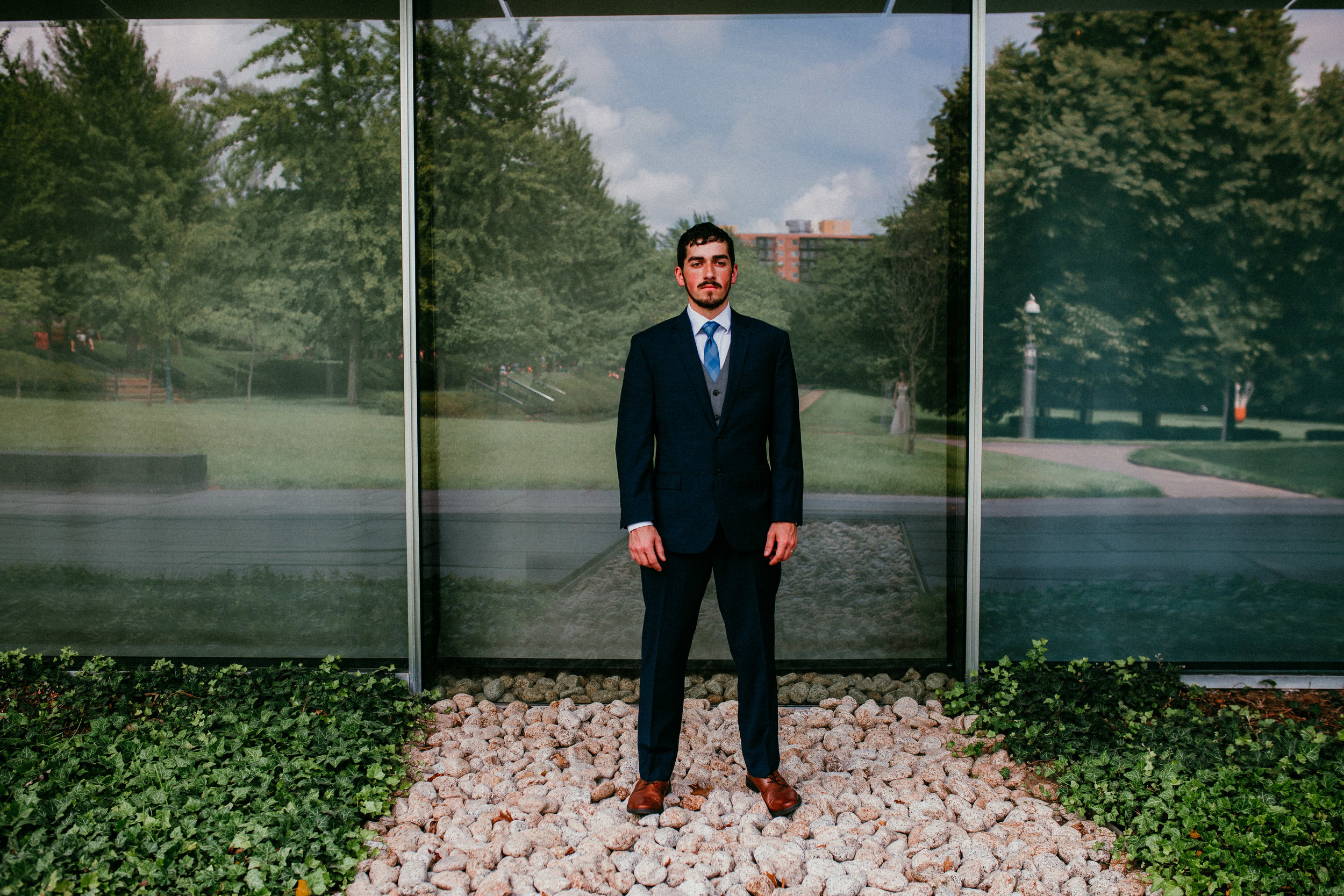 Groom portraits at Nelson Atkins Museum mid town KC | Shelbie & Jospeh's Summer Love Story : Kansas City Wedding | Hanna Hill Photography