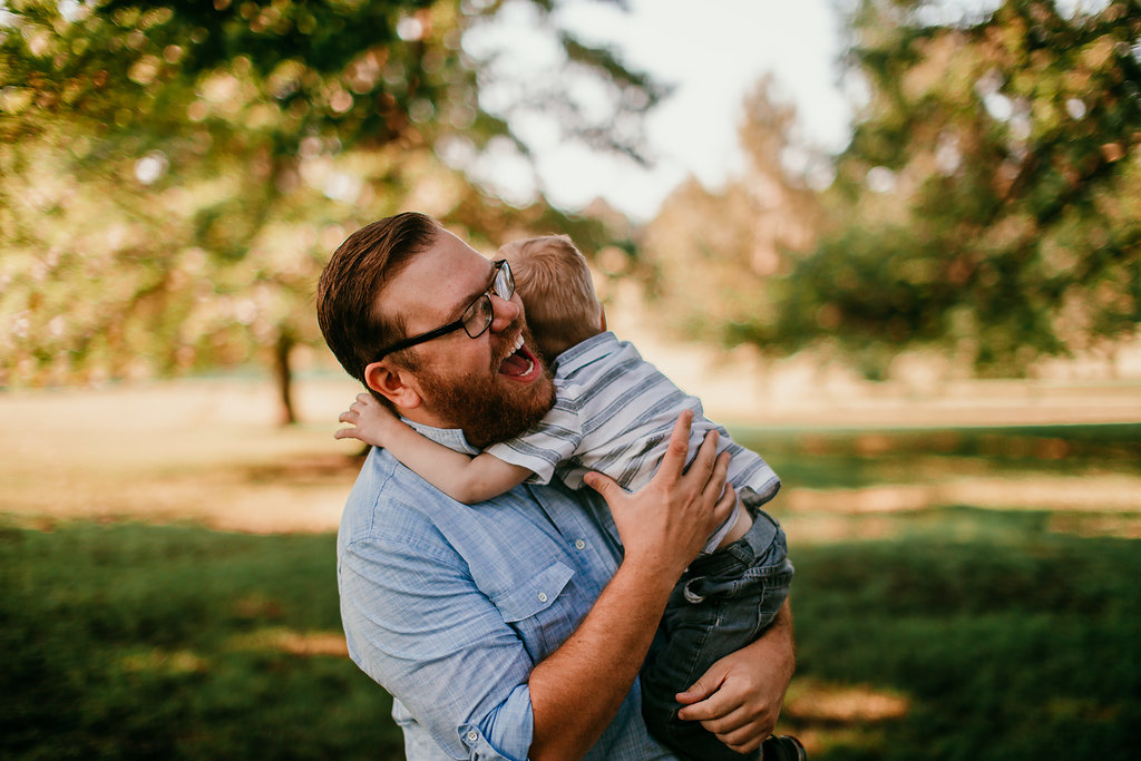Father and son moment at the park having fun Loose park | The Hann Family | Hanna Hill Photography | Durham, NC Family photographer