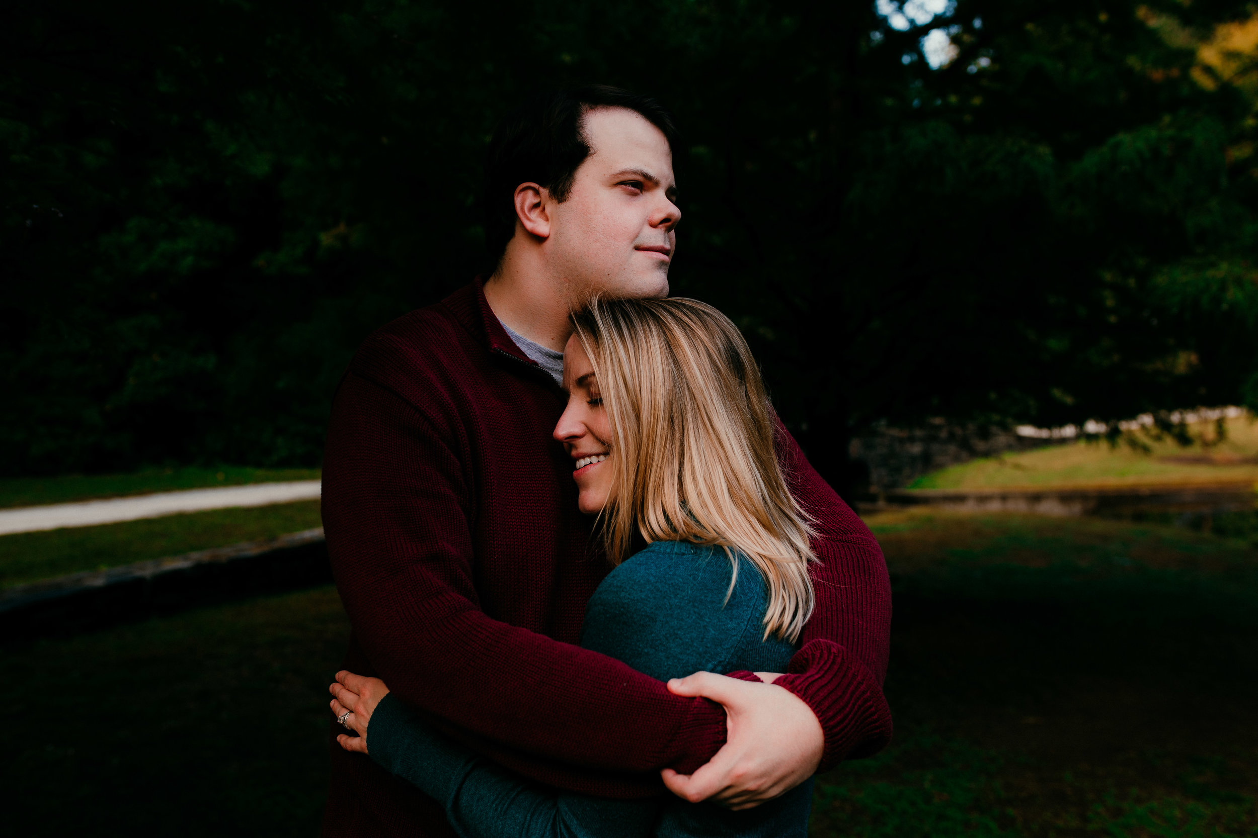 Taking a moment for just mom and dad to have a photo during their Fall family session at Duke gardens in Durham North Carolina | Hanna Hill Photography | Raleigh birth and family photographer