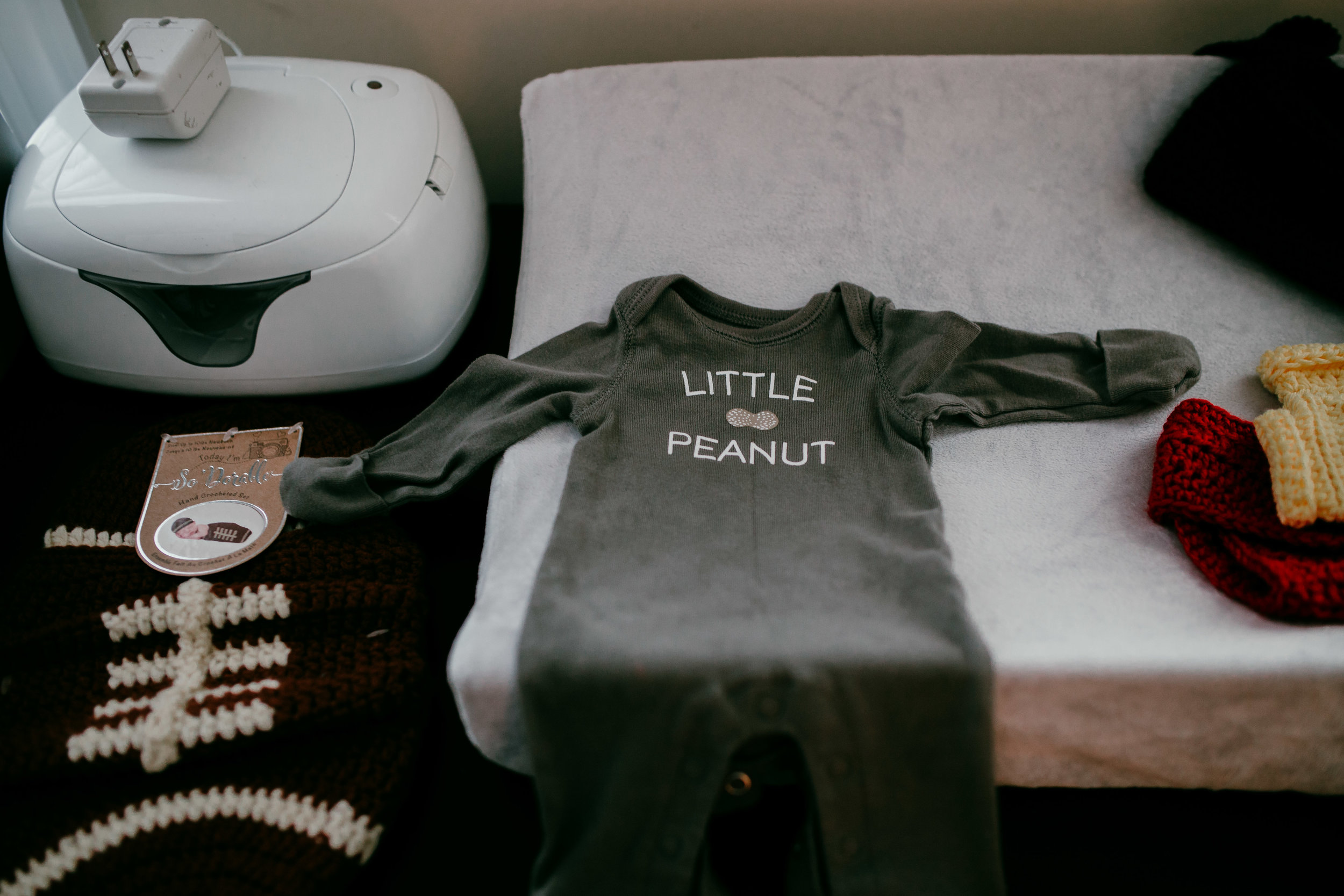 baby's little outfit for his session with his nickname little peanut | Hanna Hill Photography | Raleigh birth and family photographer | Raleigh newborn photographer