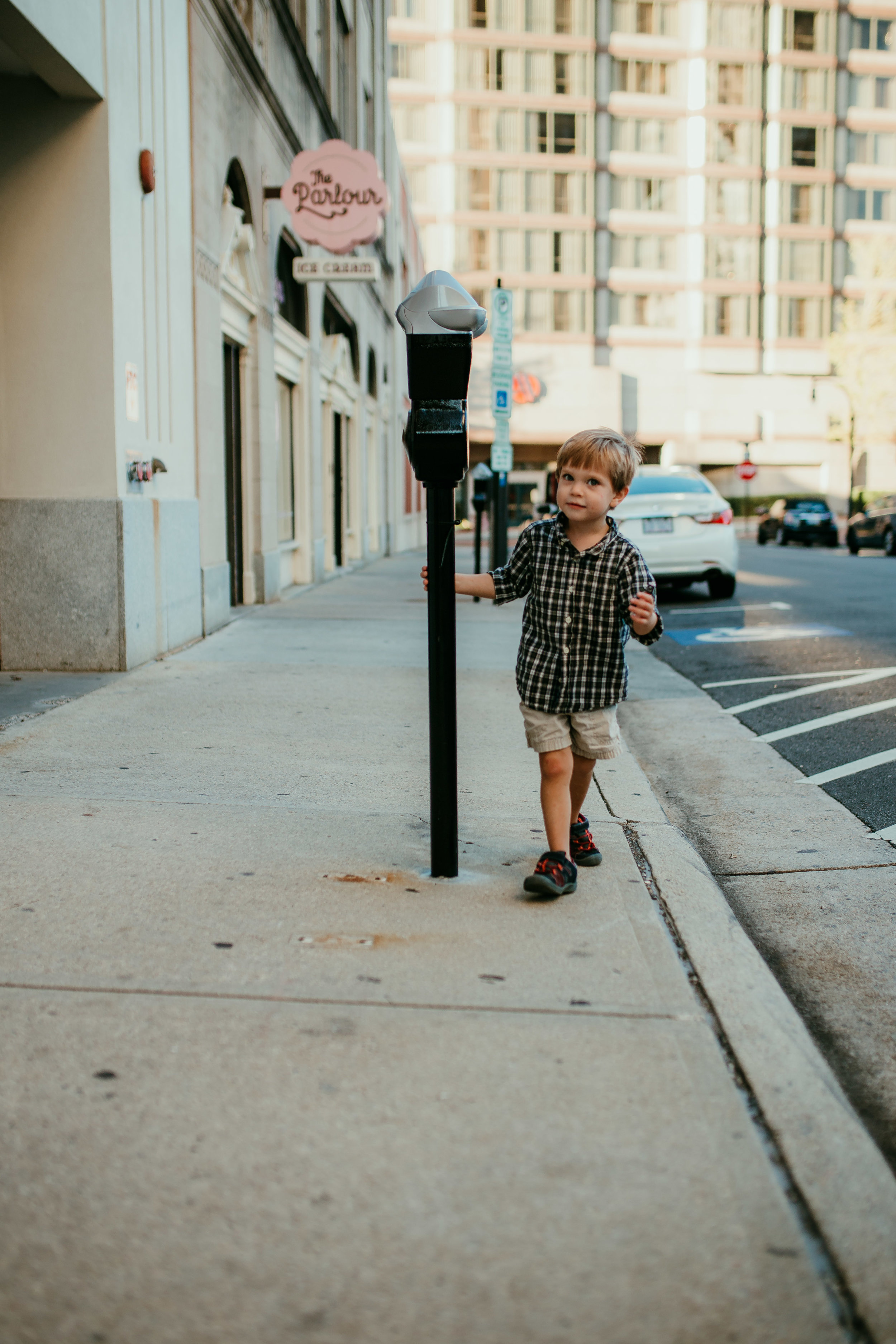 a little boy portrait during his downtown durham, NC family photography session | Hanna Hill Photography | Raleigh birth and family photographer