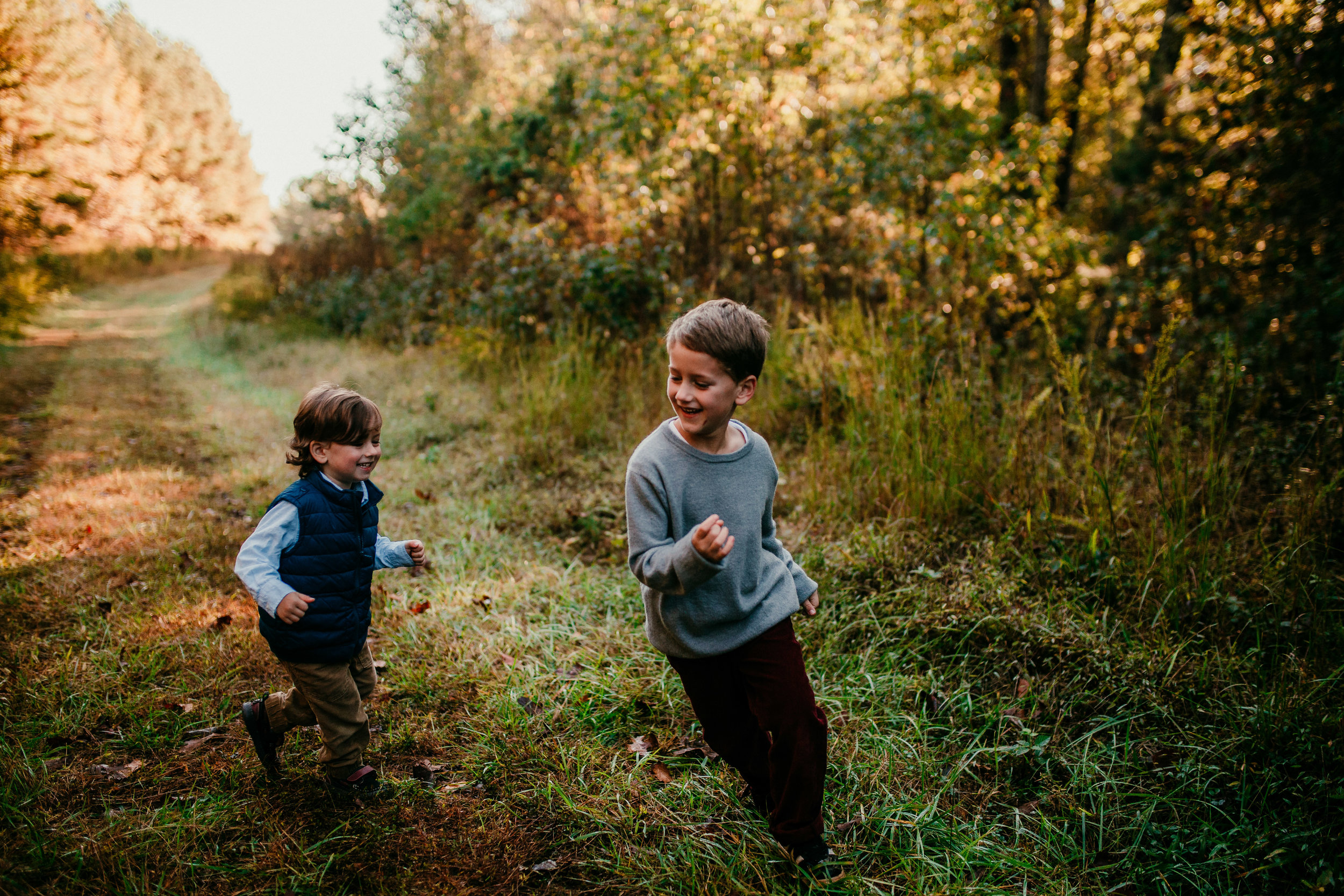 little boys running around during their session  | Durham, NC Family Photography | Hannahill photography | Brumley nature Preserve