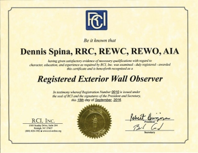 Registered Exterior Wall Observer (REWO®). Individuals certified to monitor the construction process to ensure that exterior wall systems stay in compliance with approved construction drawings, specifications, and best-practice or warranty-stipulated installation procedures.