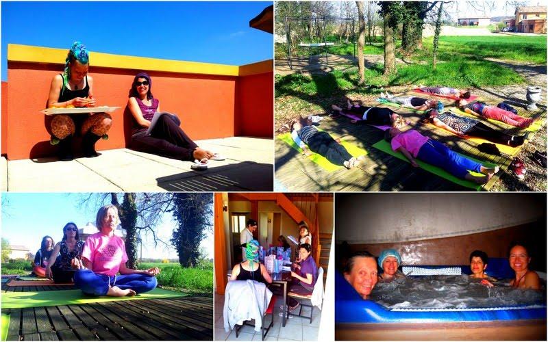 Nous pratiquons, les asanas, la méditation, la relaxation et nous profitons du jaccuzzi aussi!