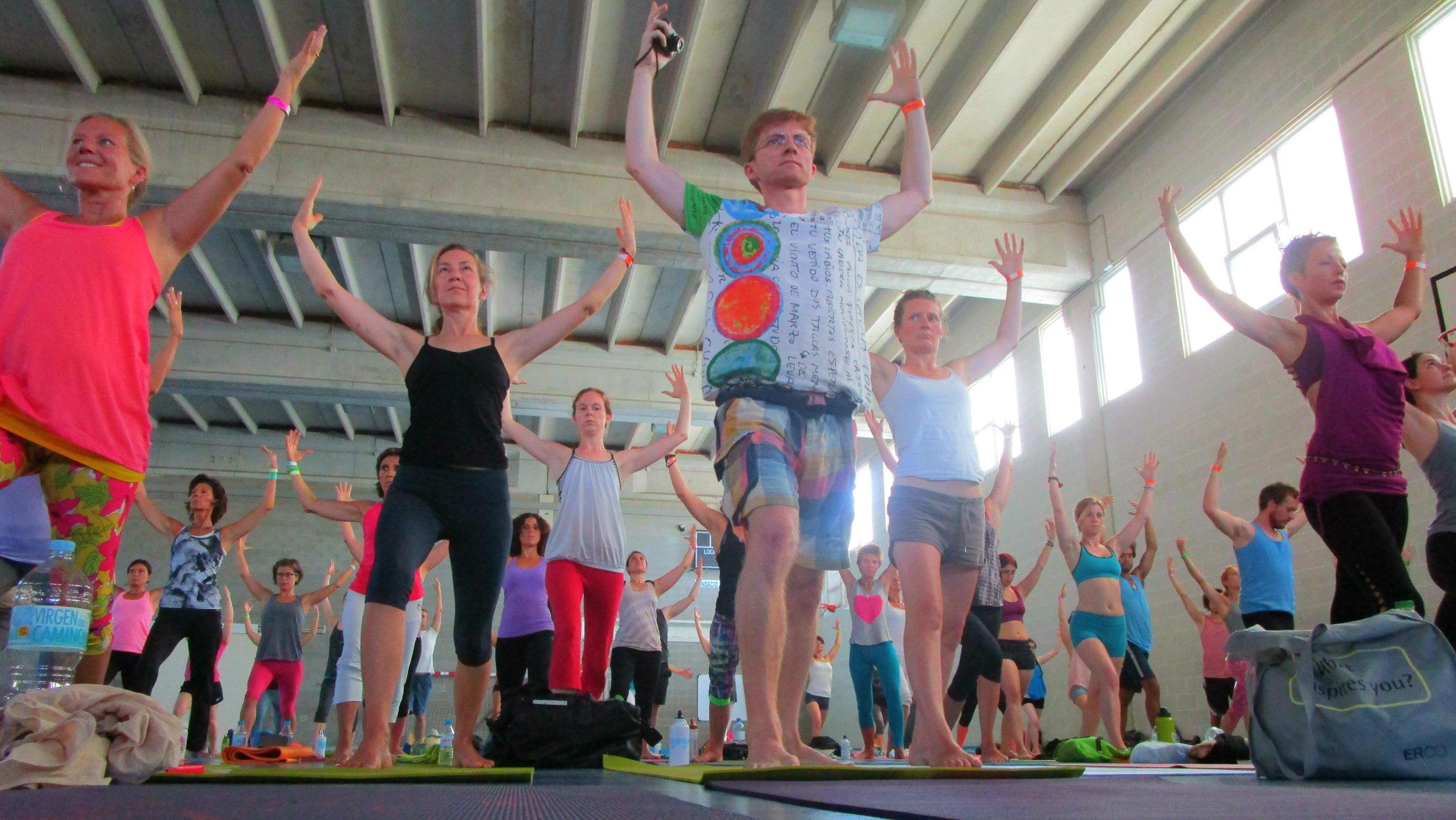 Un cours de yoga thérapeutique dirigé par  Leslie Kaminoff .