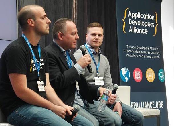 From L to R: Mike Schwartz (App Developers Alliance), Barry Dorf (DeNA), Sean Webster (AppLovin)
