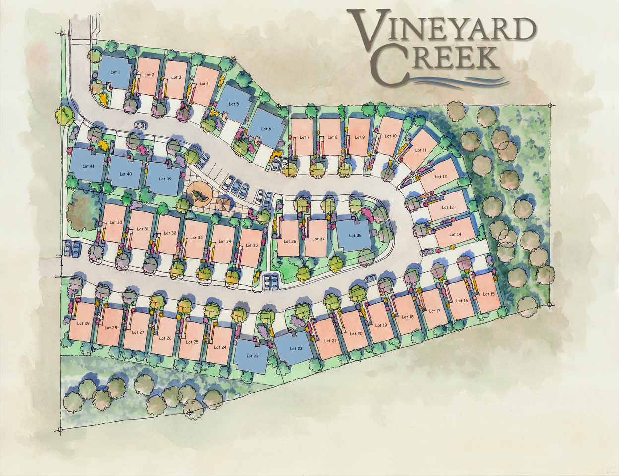 - Vineyard Creek is a promising new home development located on the western side of Hwy 101 in Templeton, California. The community consists of 41 beautiful, two story, single family homes bordered by majestic oak trees and rolling green hills. Residents of Vineyard Creek also enjoy a close proximity to Hwy 101, putting them minutes away from all that the Central Coast has to offer.The homes at Vineyard Creek will range from 1,408 to 1,559 sq. ft. We believe that with unbeatable amenities, excellent location, and affordable prices, the homes at Vineyard Creek will sell fast.