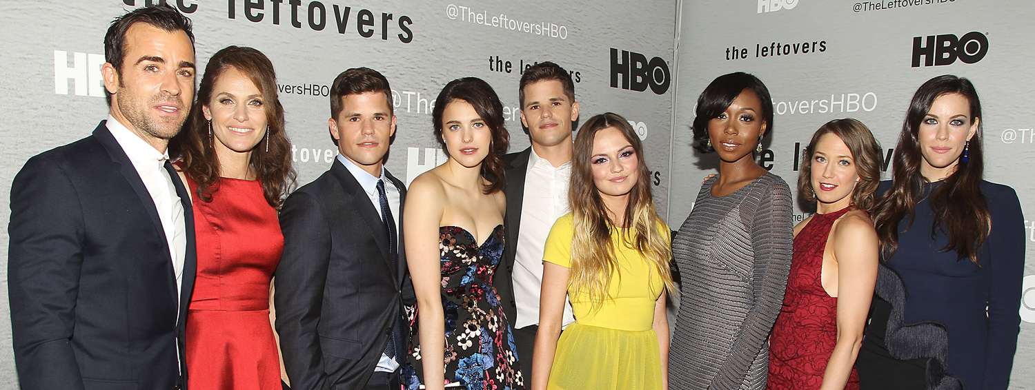Cast (L-R): Justin Theroux,Justin Theroux, Amy Brenneman, Charlie Carver, Margaret Qualley, Max Carver, Emily Meade, Amanda Warren, Carrie Coon and Liv Tyler. Photo Credit: Starpix
