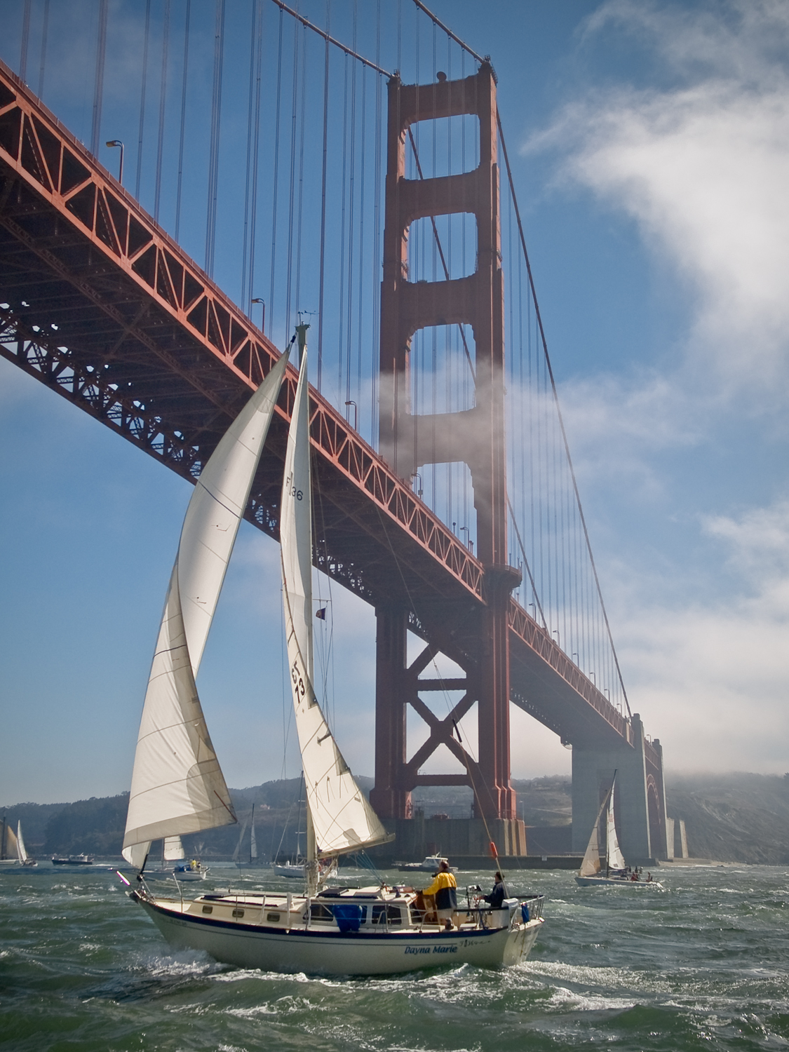 Entering the bay through the Golden Gate.