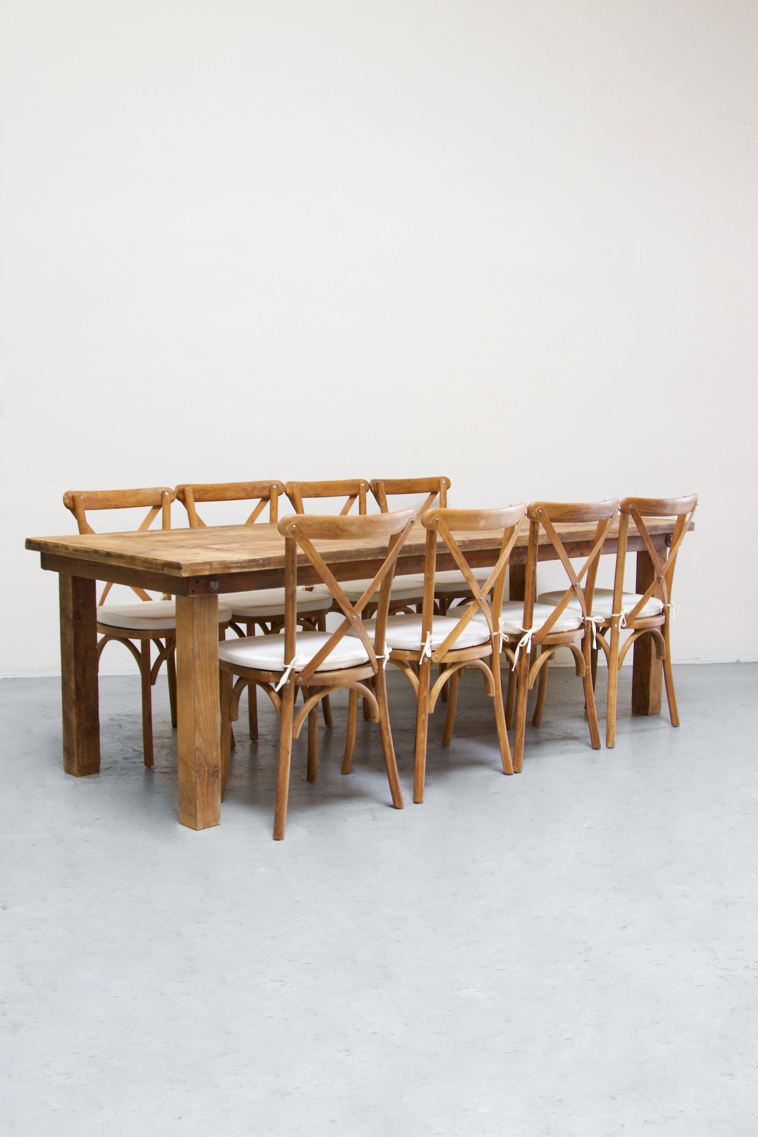$145 1 Honey Brown Farm Table w/ 8 Cross-Back Chairs