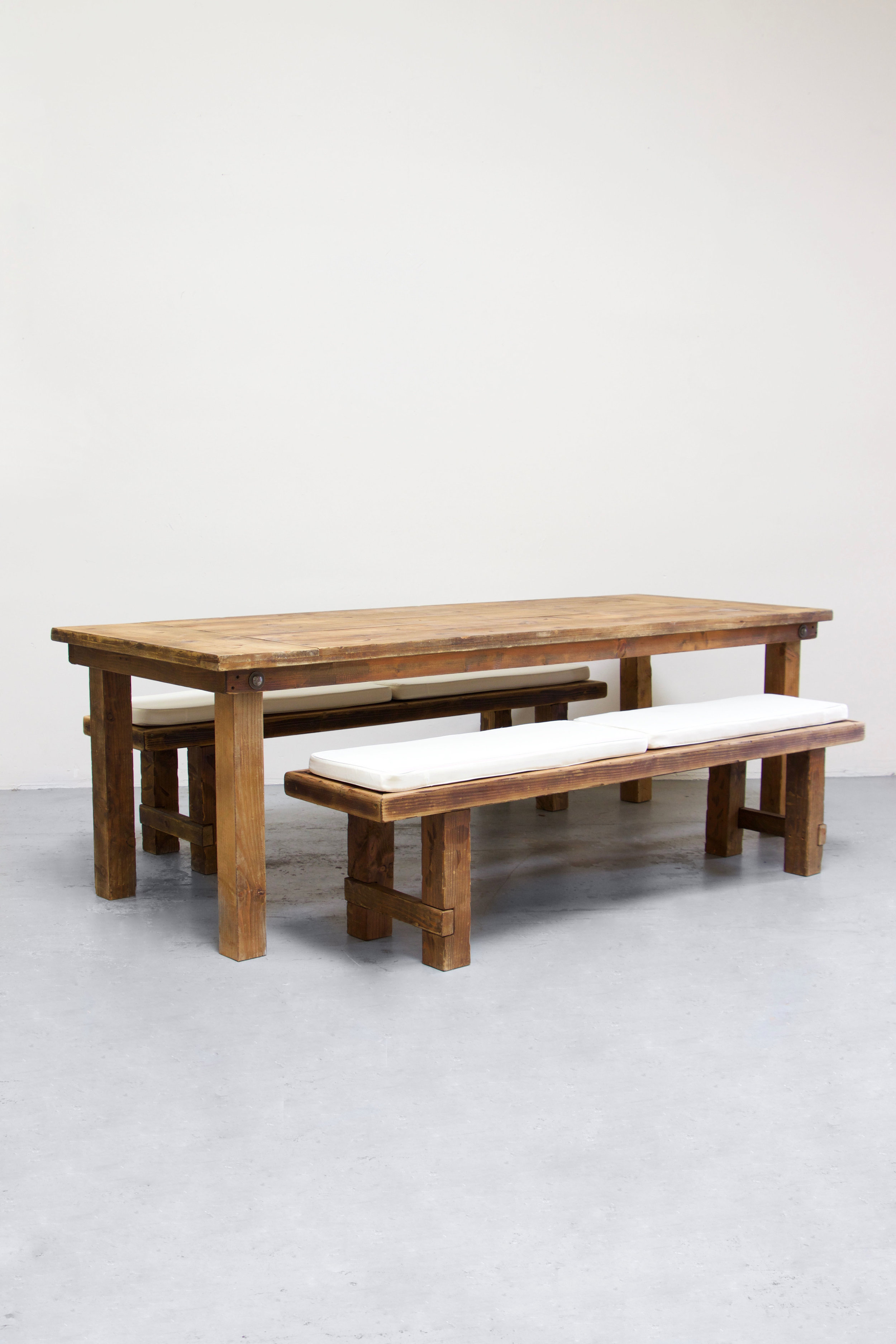 $145 1 Honey Brown Farm Table w/ 2 Long Benches