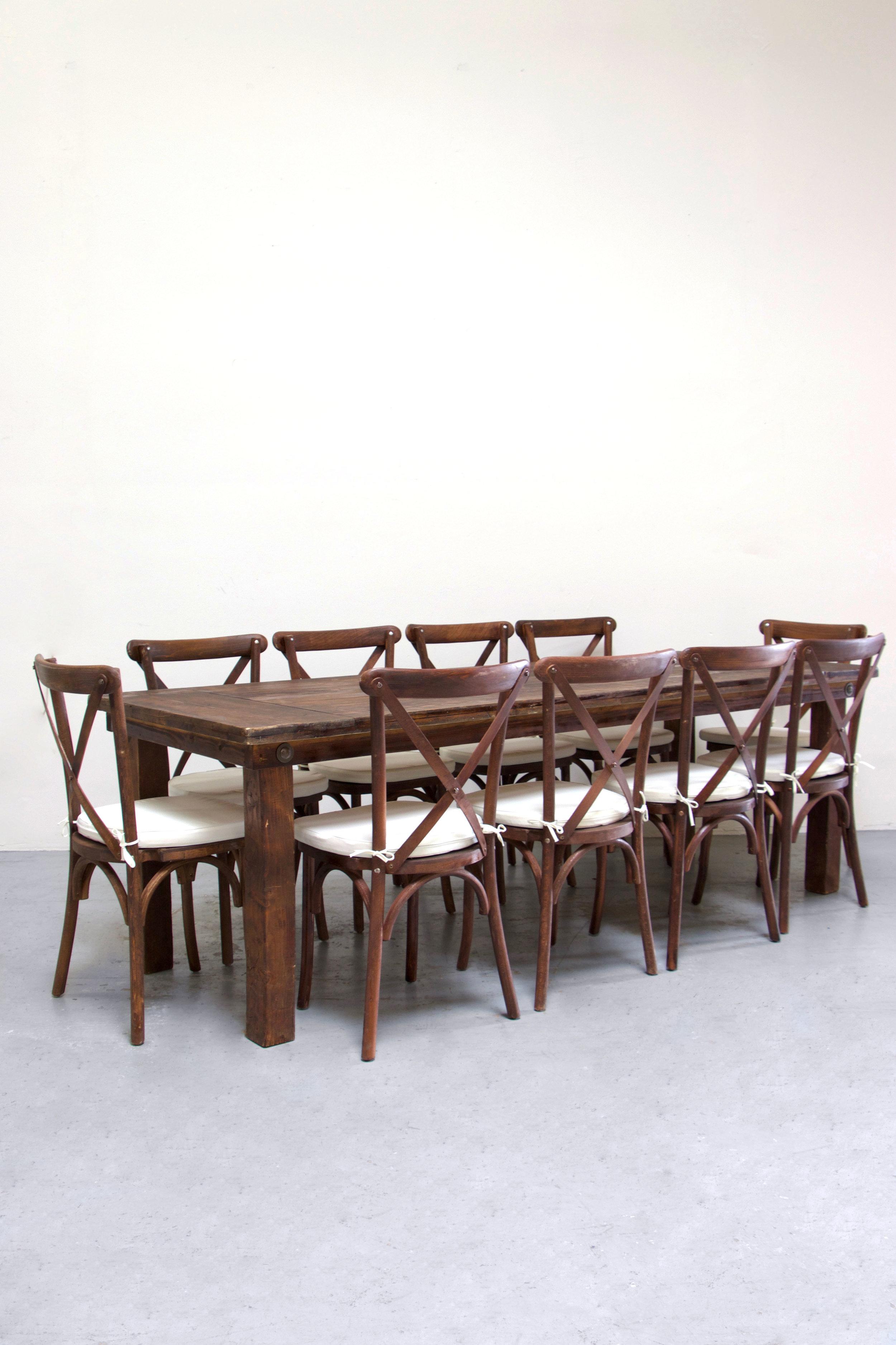 $160 1 Mahogany Farm Table w/ 10 Cross-Back Chairs