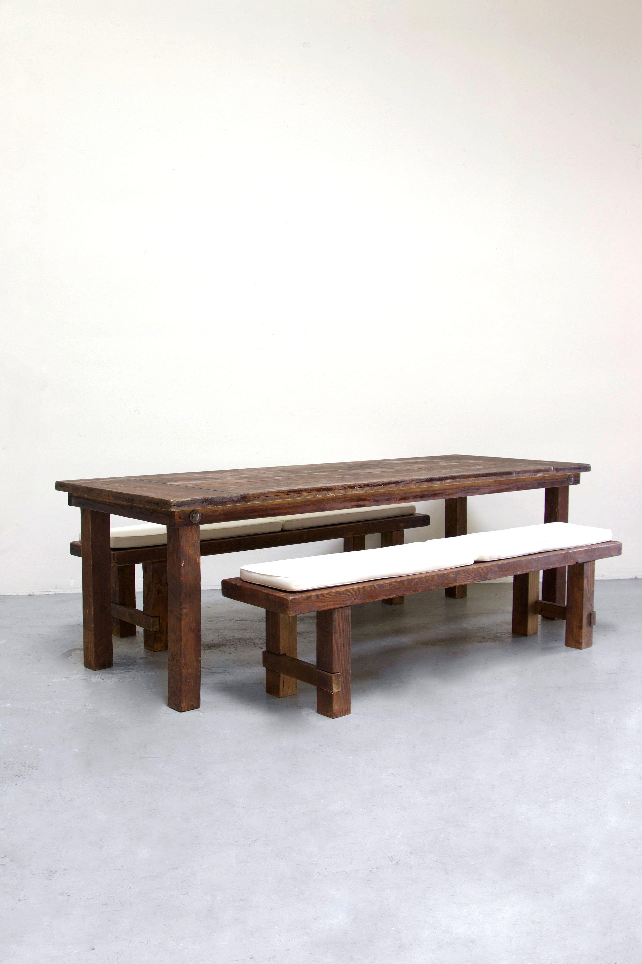 $145 1 Mahogany Farm Table w/ 2 Long Benches