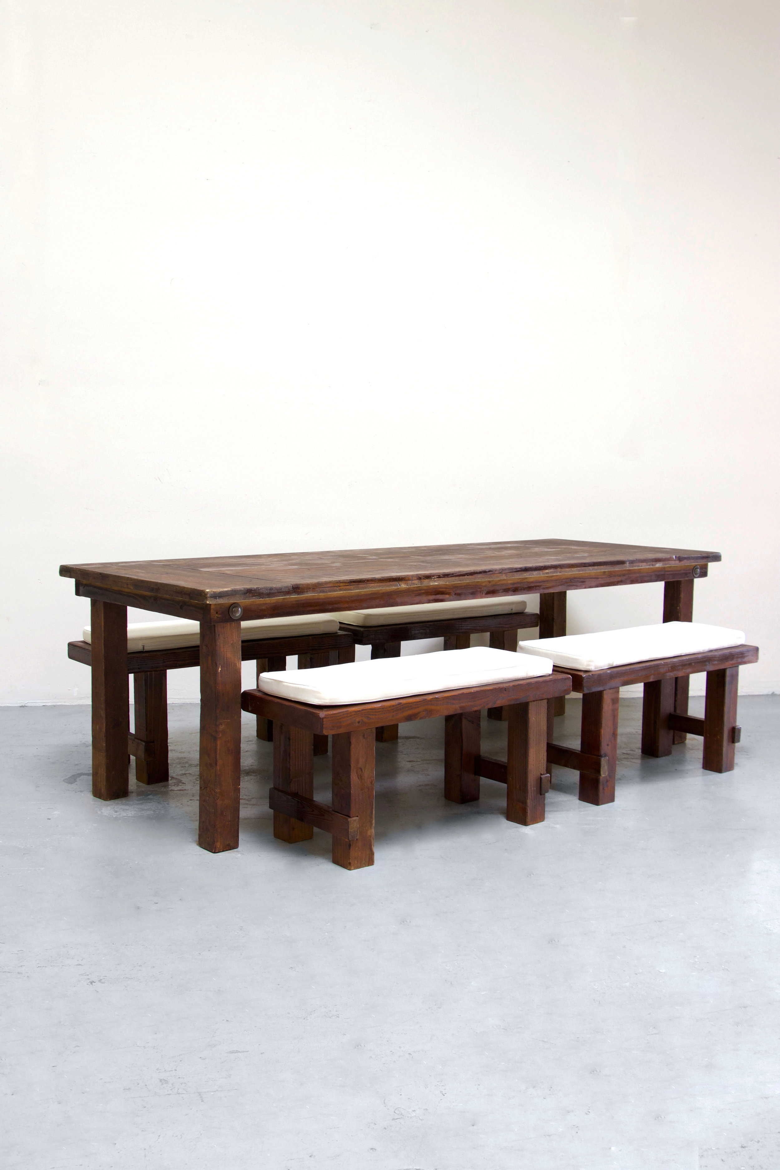 $145 1 Mahogany Farm Table w/ 4 Short Benches