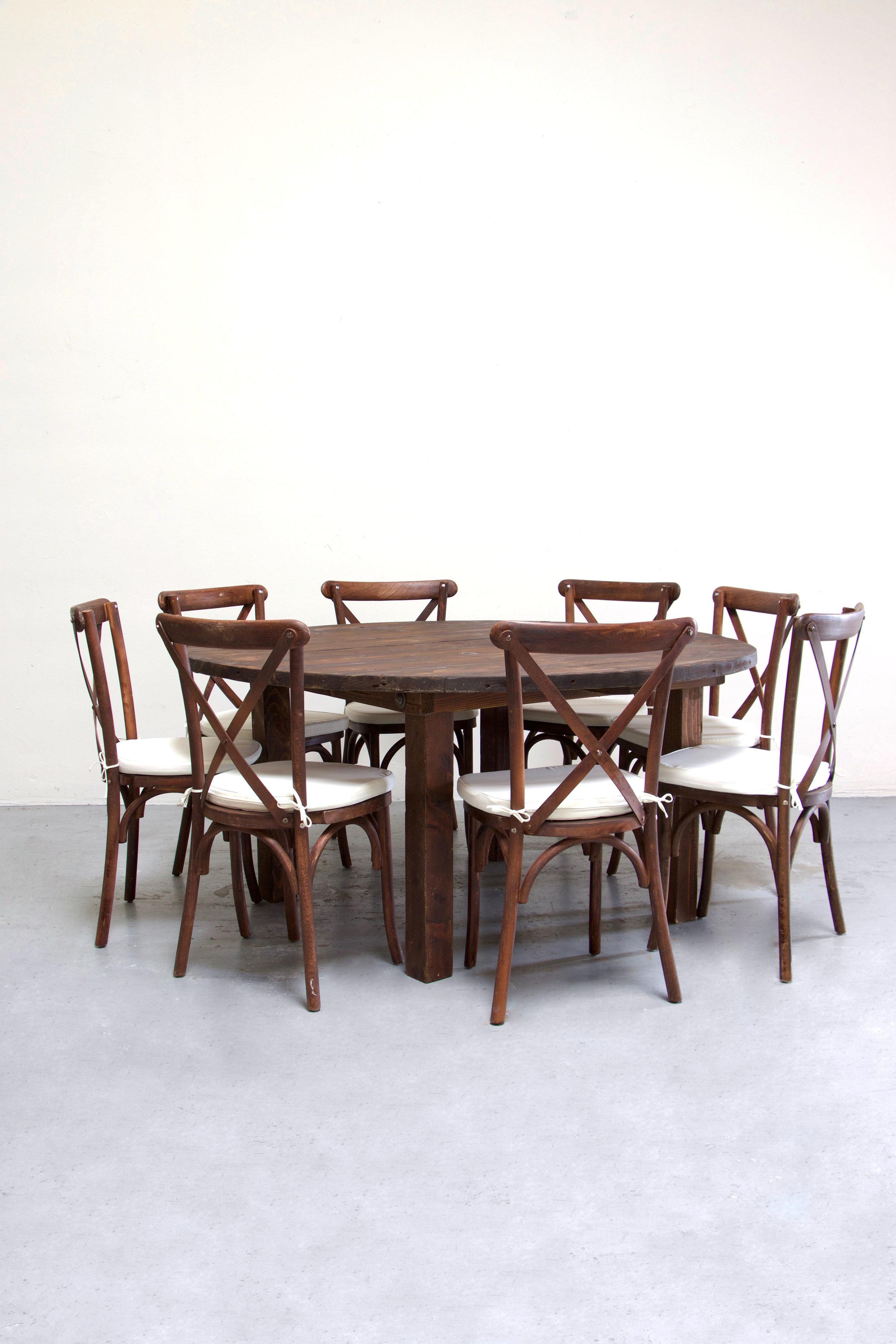 $145 1 Round Mahogany Farm Table w/ 8 Cross-Back Chairs