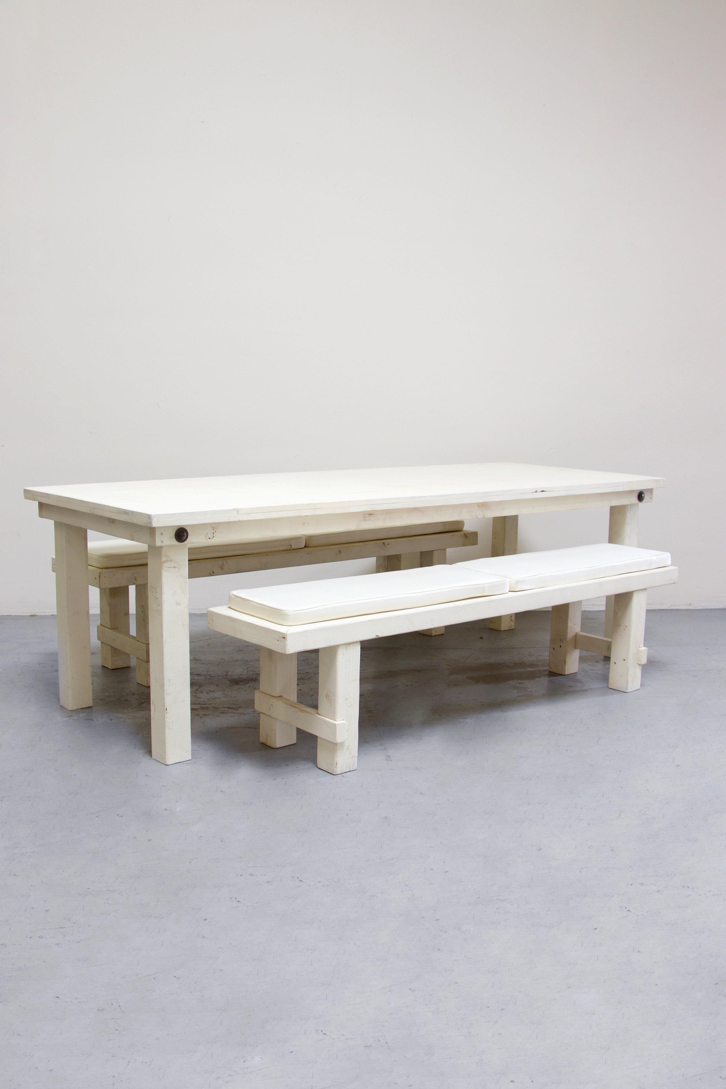 $145 1 Vintage White Farm Table w/ 2 Long Benches