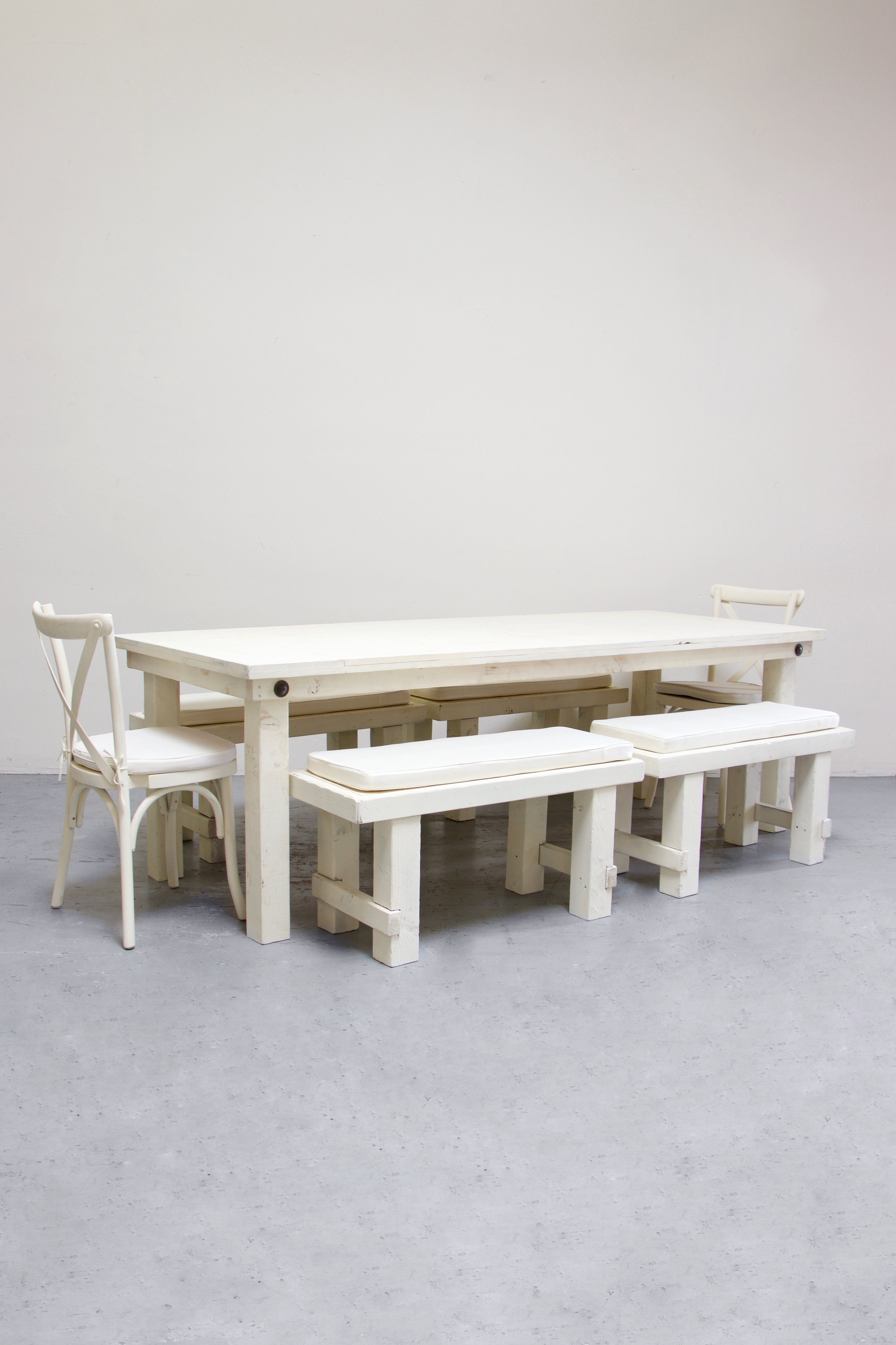 $160 1 Vintage White Farm Table w/ 4 Short Benches & 2 Cross-Back Chairs