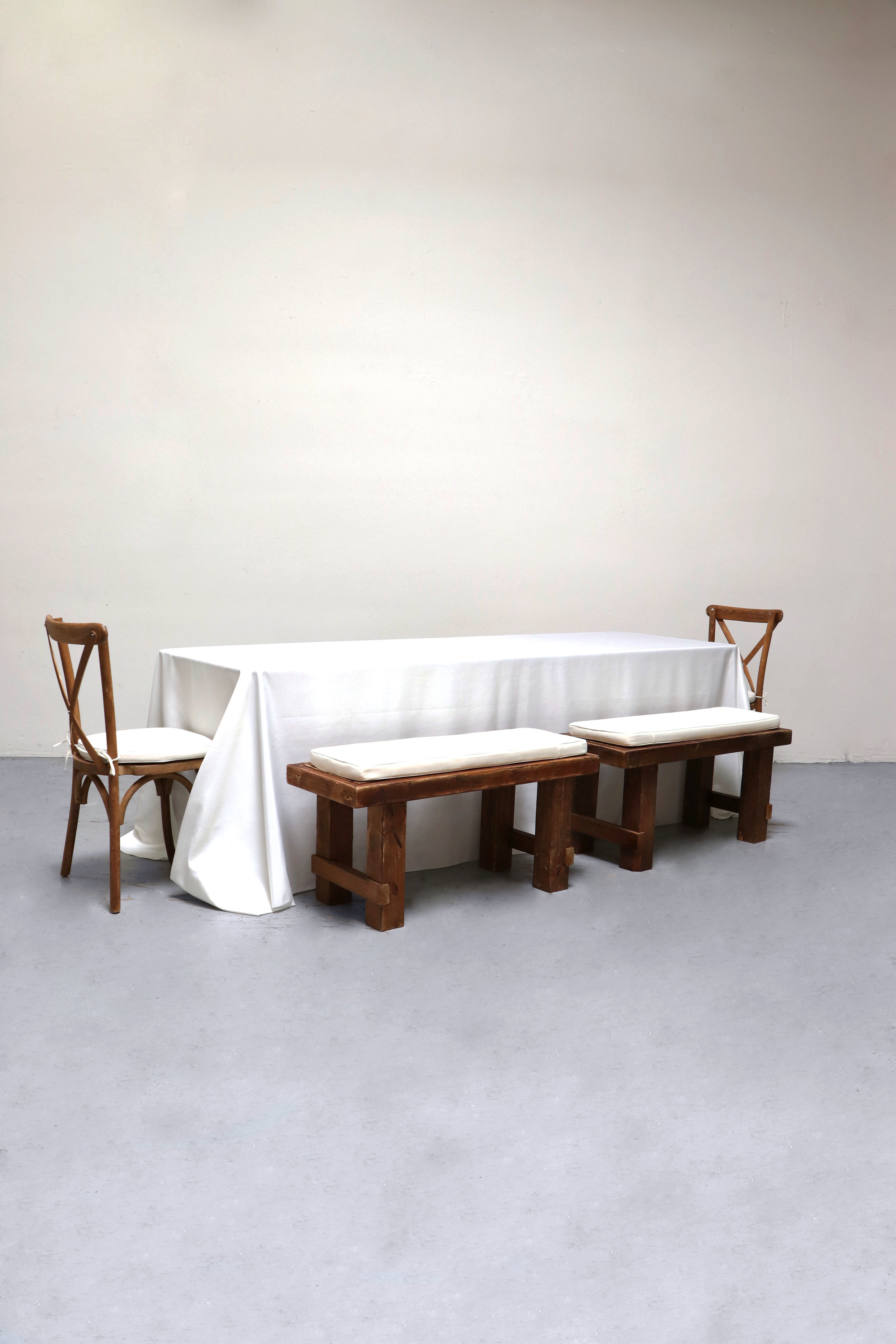 $100 1 Banquet Table with 4 Short Benches & 2 Cross-Back Chairs