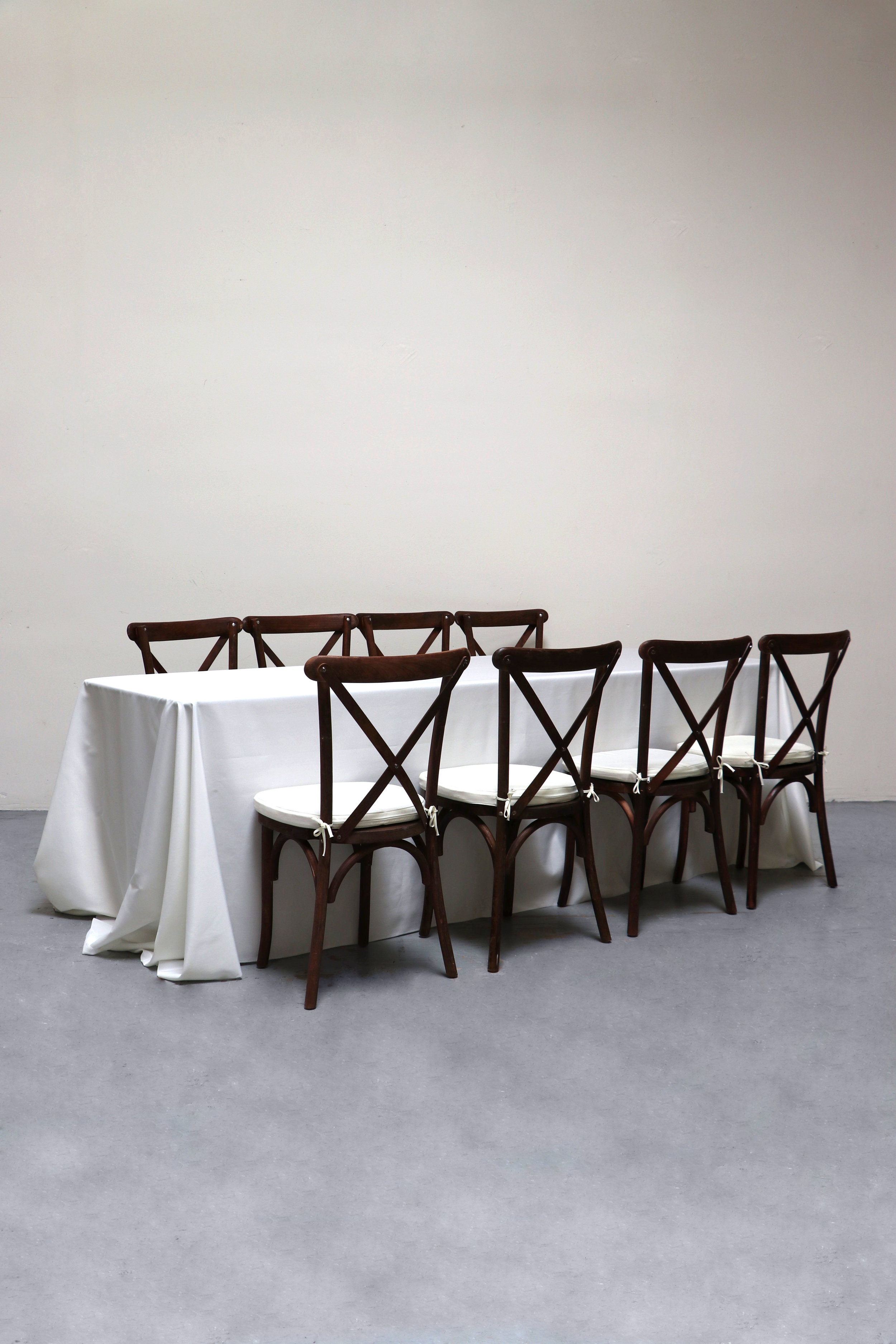 $80 1 Banquet Table with 8 Cross-Back Chairs