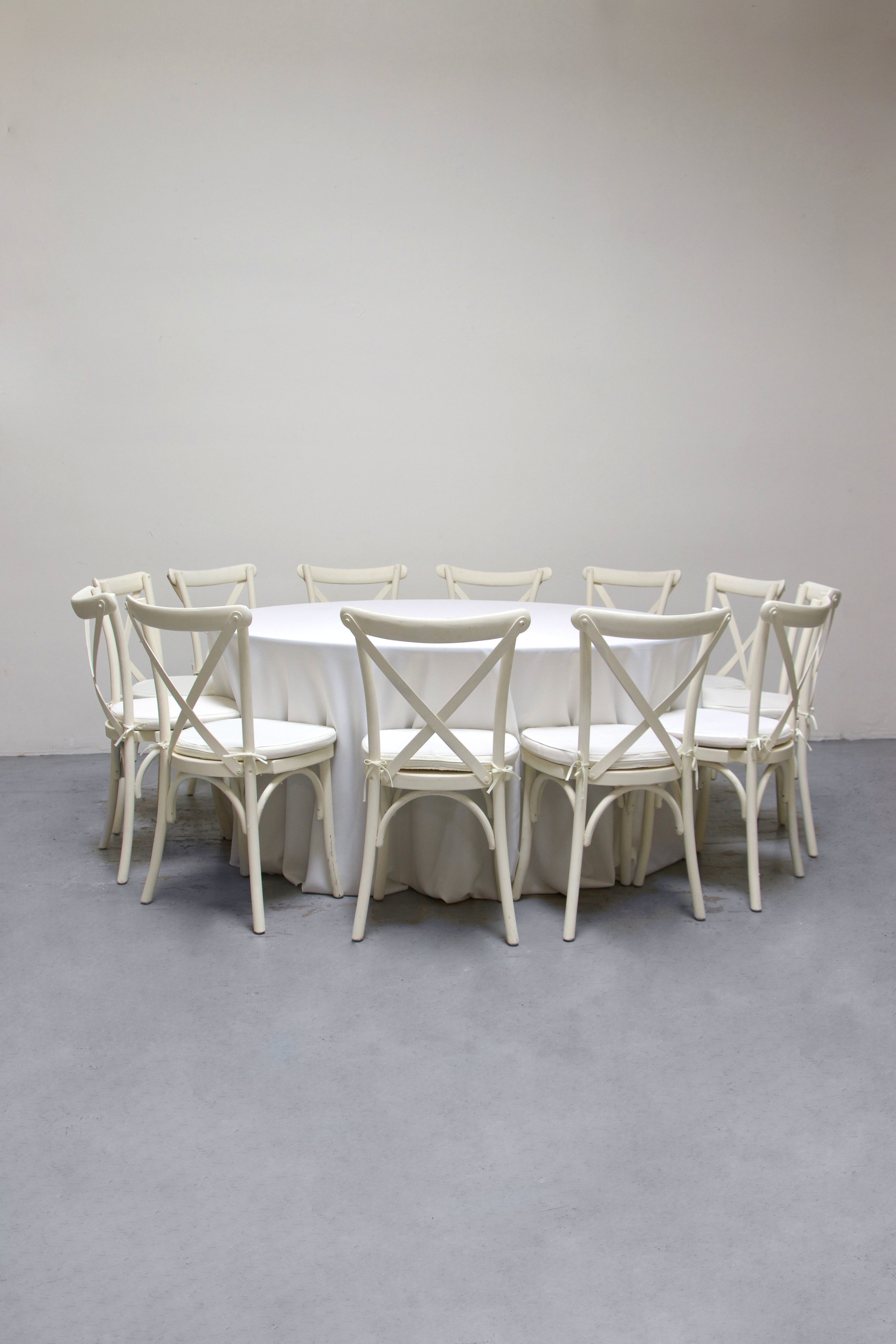 1 Round Banquet w/ 12 Cross-Back Chairs