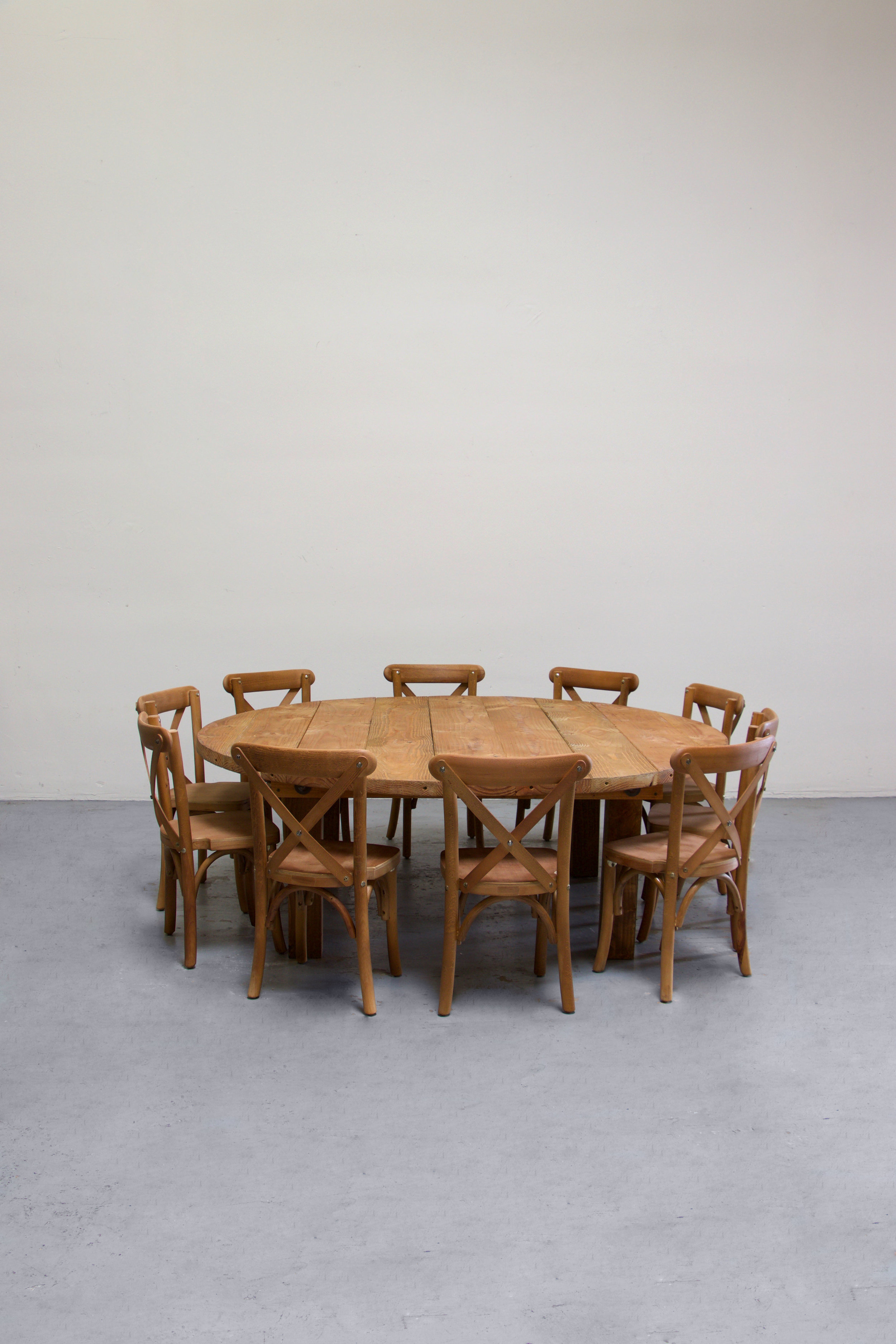 $135 1 Kids Honey Brown Round Farm Table w/ 10 Cross-Back Chairs