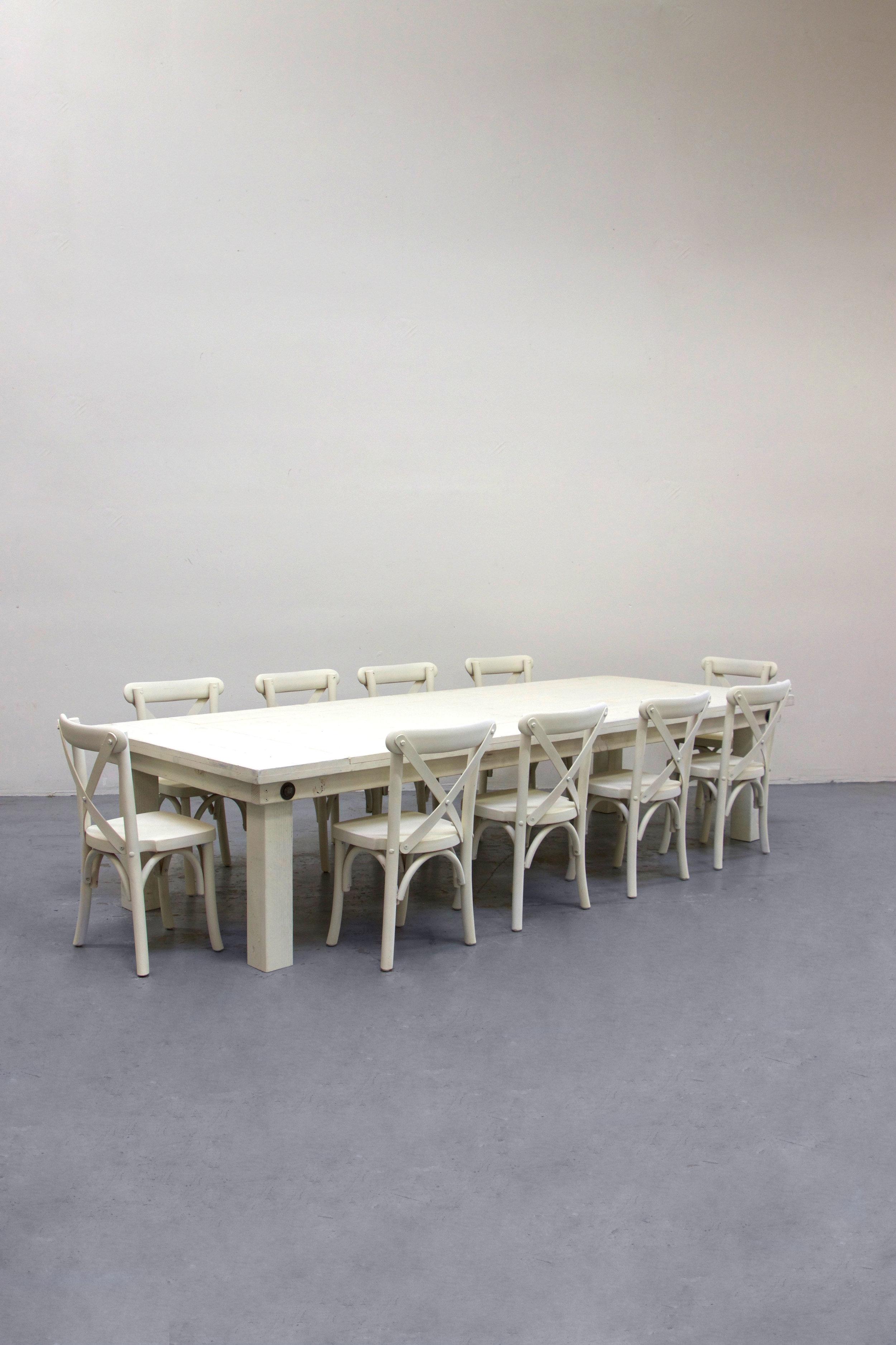 $140 1 Kids Vintage White Farm Table w/ 10 Cross-Back Chairs