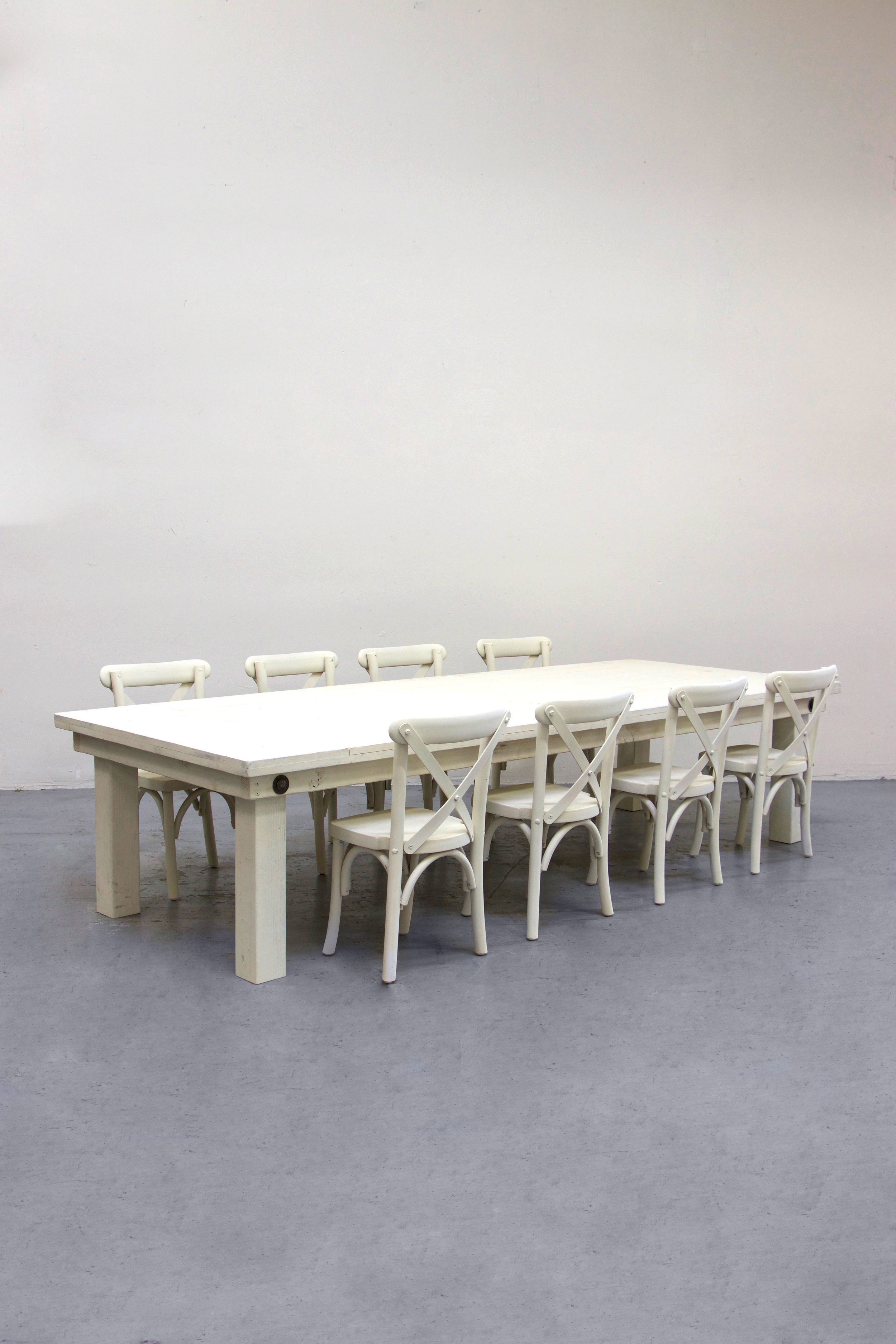 $130 1 Kids Vintage White Farm Table w/ 8 Cross-Back Chairs