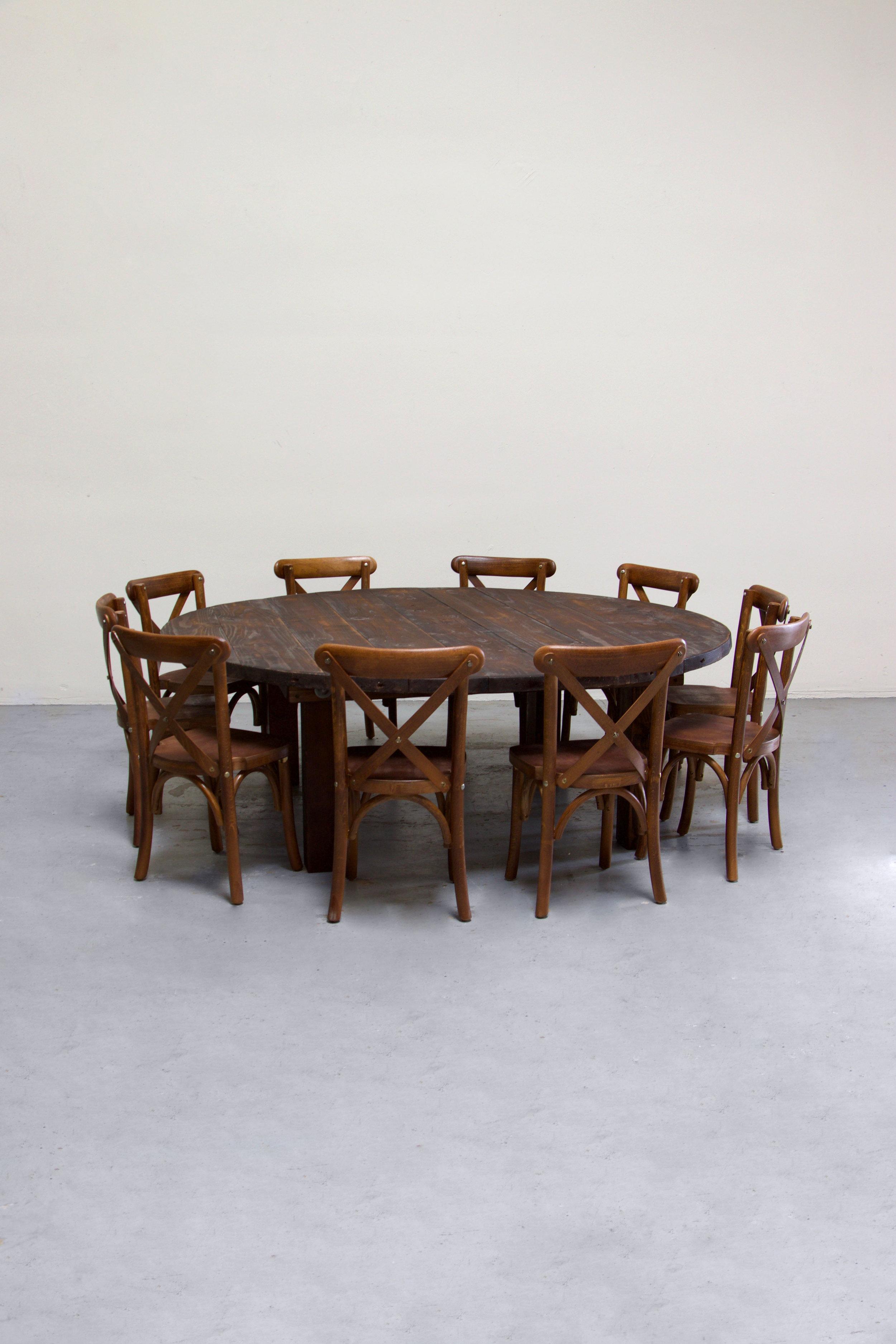 $135 1 Kids Mahogany Round Farm Table w/ 10 Cross-Back Chairs
