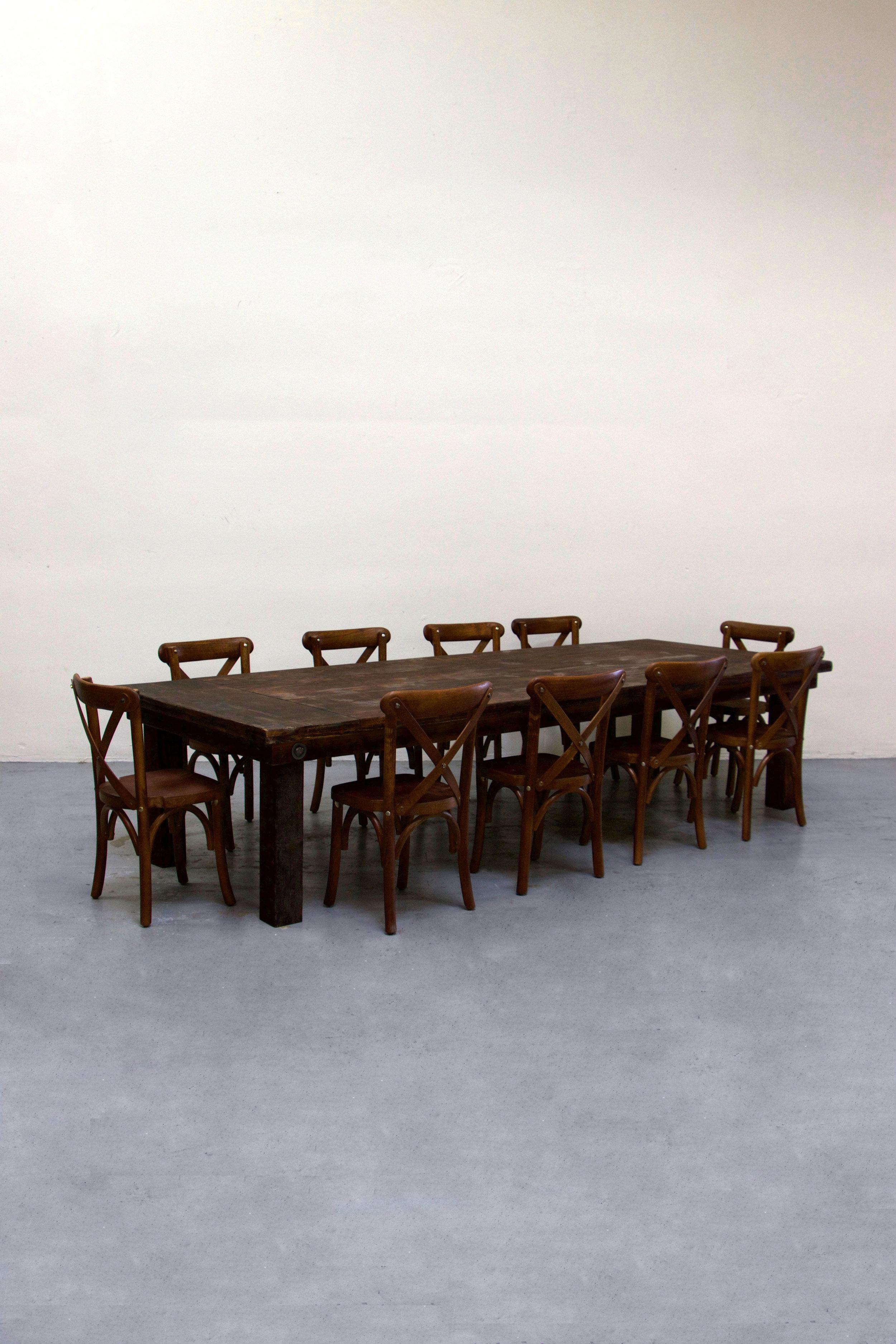 $140 1 Kids Mahogany Farm Table w/ 10 Cross-Back Chairs