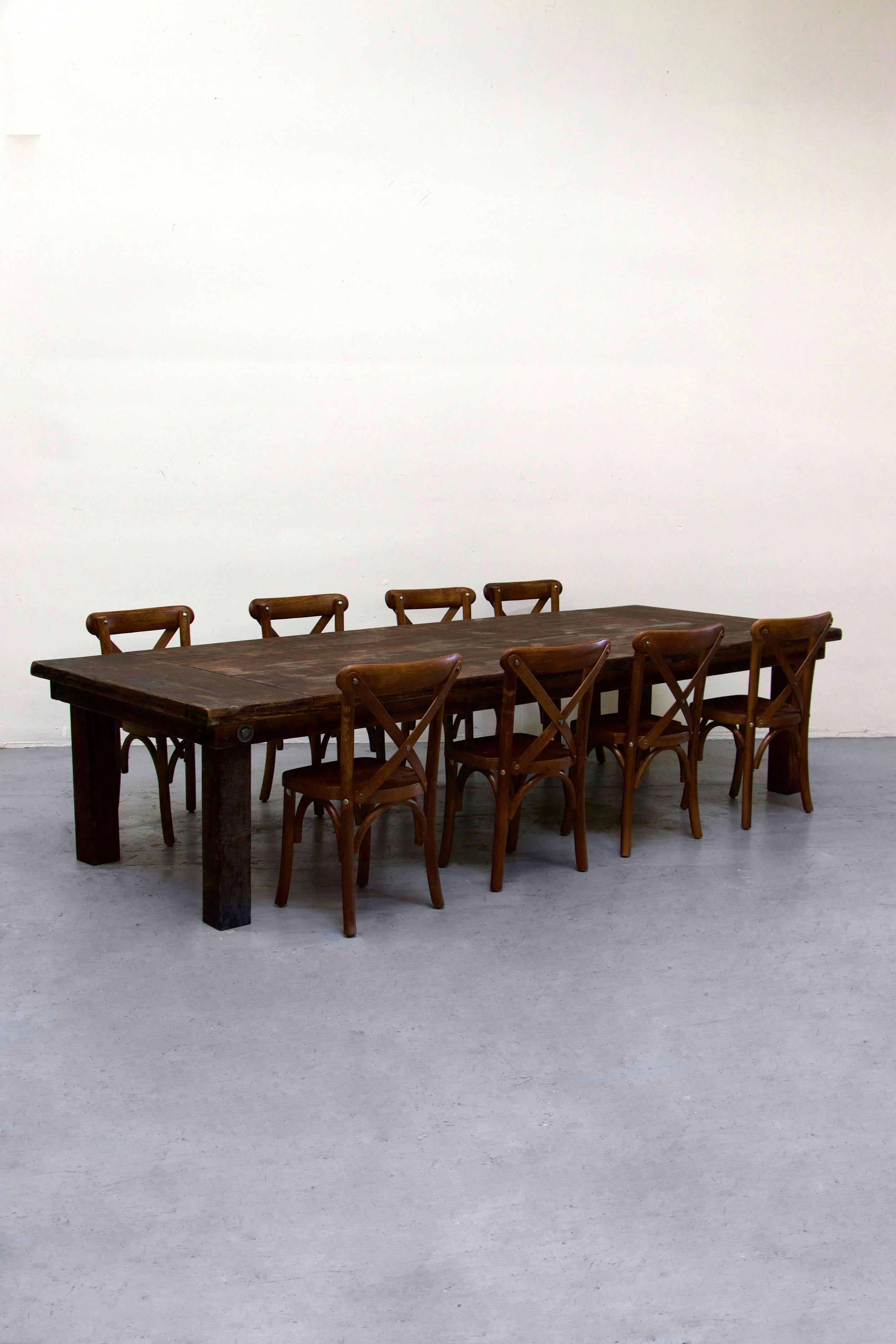 $130 1 Kids Mahogany Farm Table w/ 8 Cross-Back Chairs