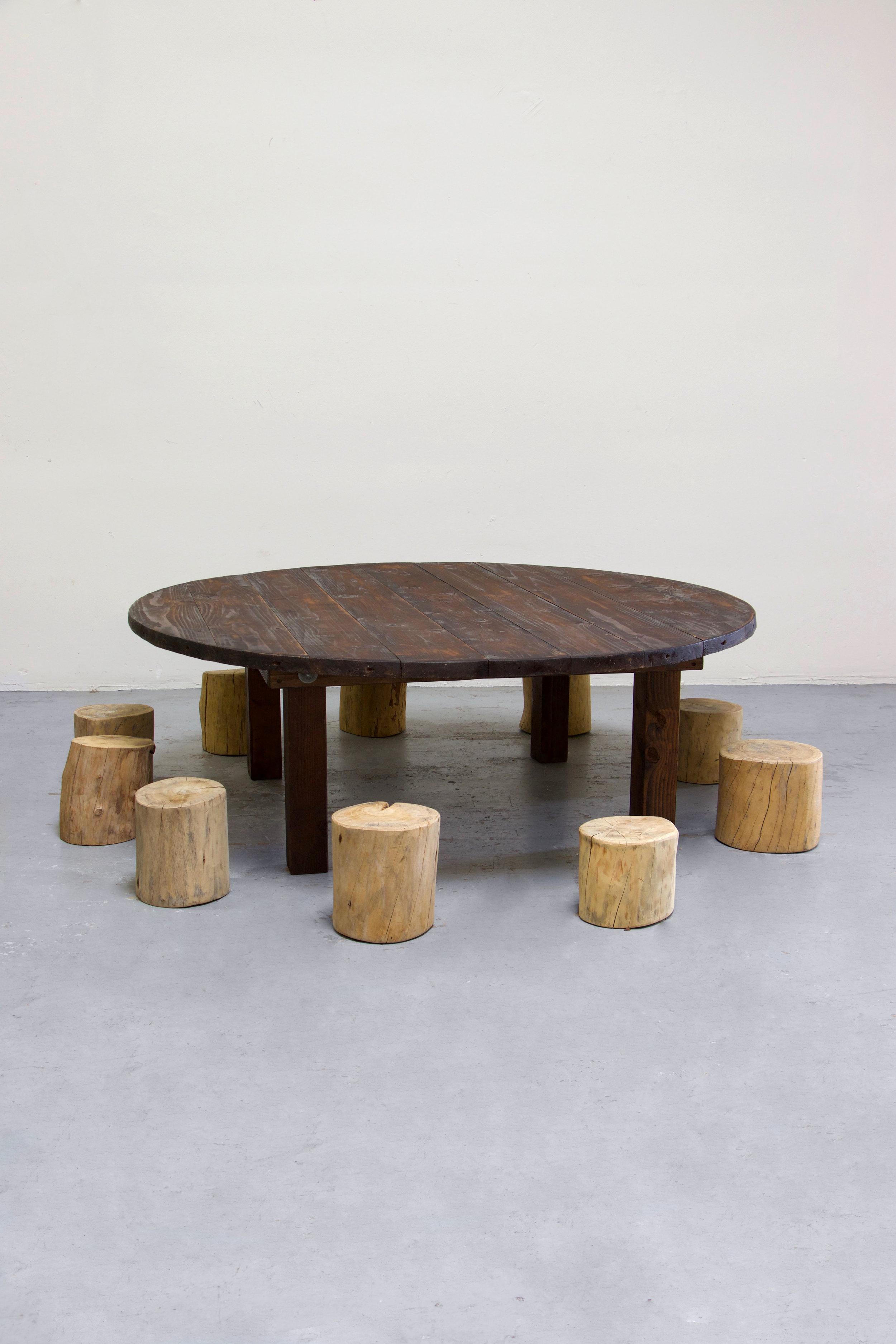 1 Kids Mahogany Round Farm Table w/ 10 Tree Stumps