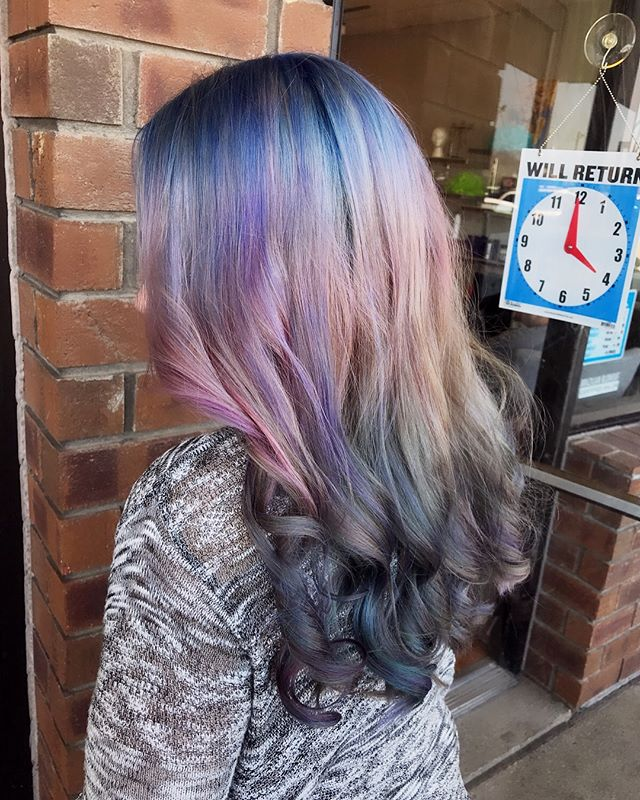 Beautiful custom aurora borealis/opal hair!  #opalhair #auroraborealis #art #artist #colorcorrection #fun #pastel #haircolor #stylist #emzysalonandspa #imagination #creative #freehand #colors #paint