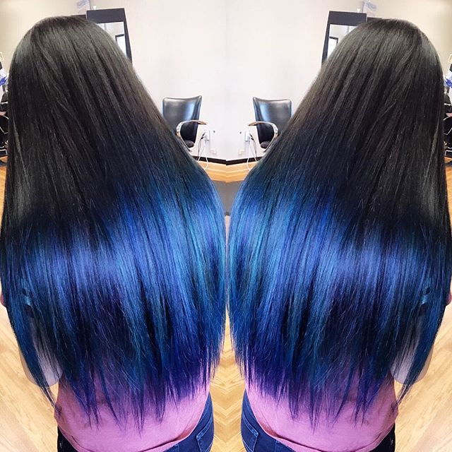 Beautiful deep blue ombré  #bluehair #ombre #longhair #pravanavivids #emzysalonandspa
