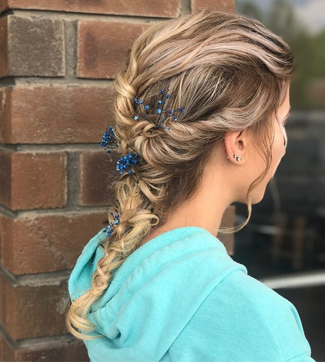 Beautiful prom duo by Artist Melissa Stunning makeup by Artist Nickie  #braid #organic #chignon #prom #stunning #makeup #mua #teamwork #emzysalonandspa