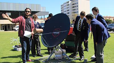 Helping pupils at Christchurch Grammar School build their very own tiny radio telescope!