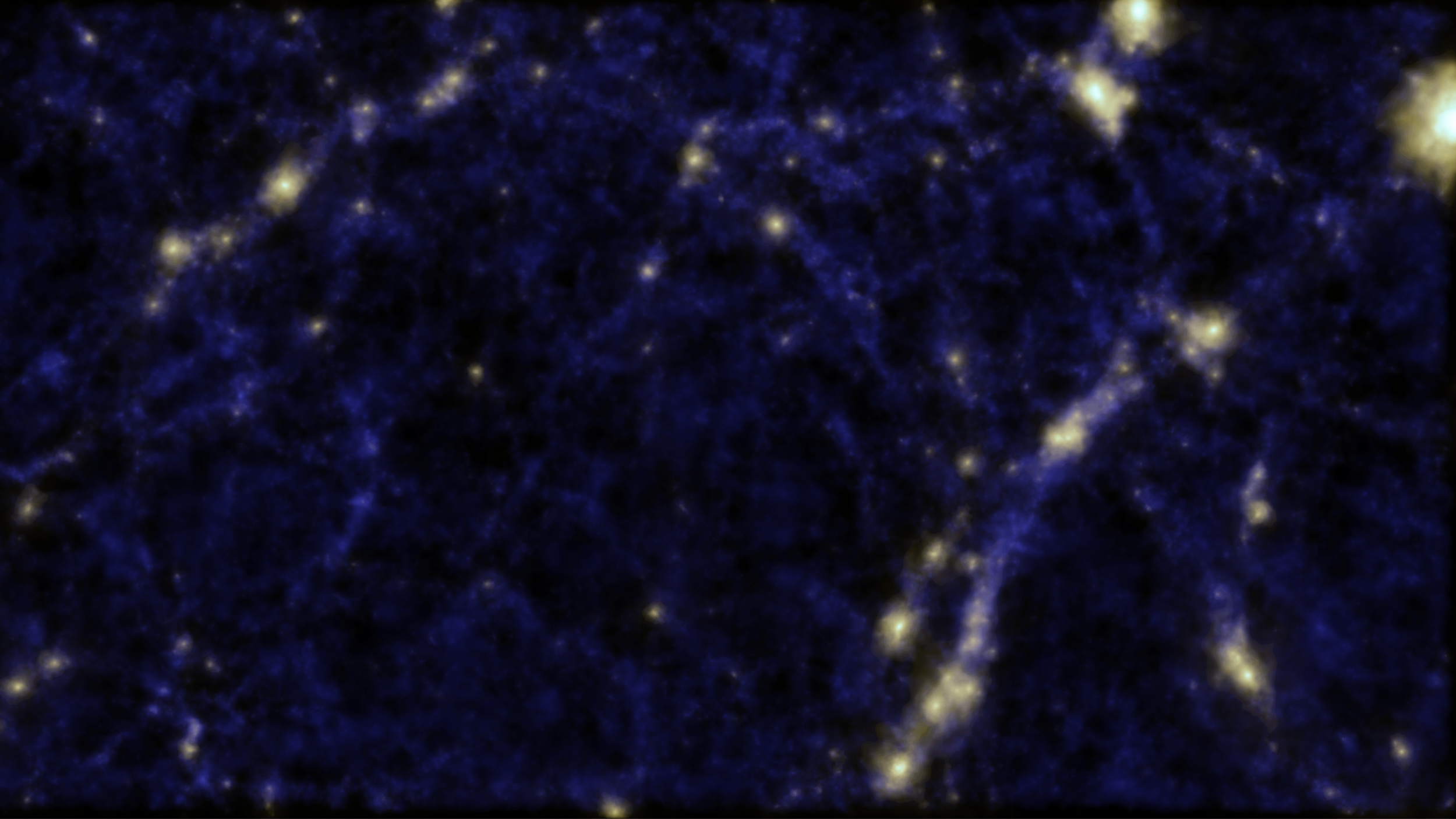 A simulation of the 'Cosmic Web' showing clusters of galaxies and a void in the middle of the image. Credit: Cui, Newton and Power (ICRAR), Cunnama (UWC).