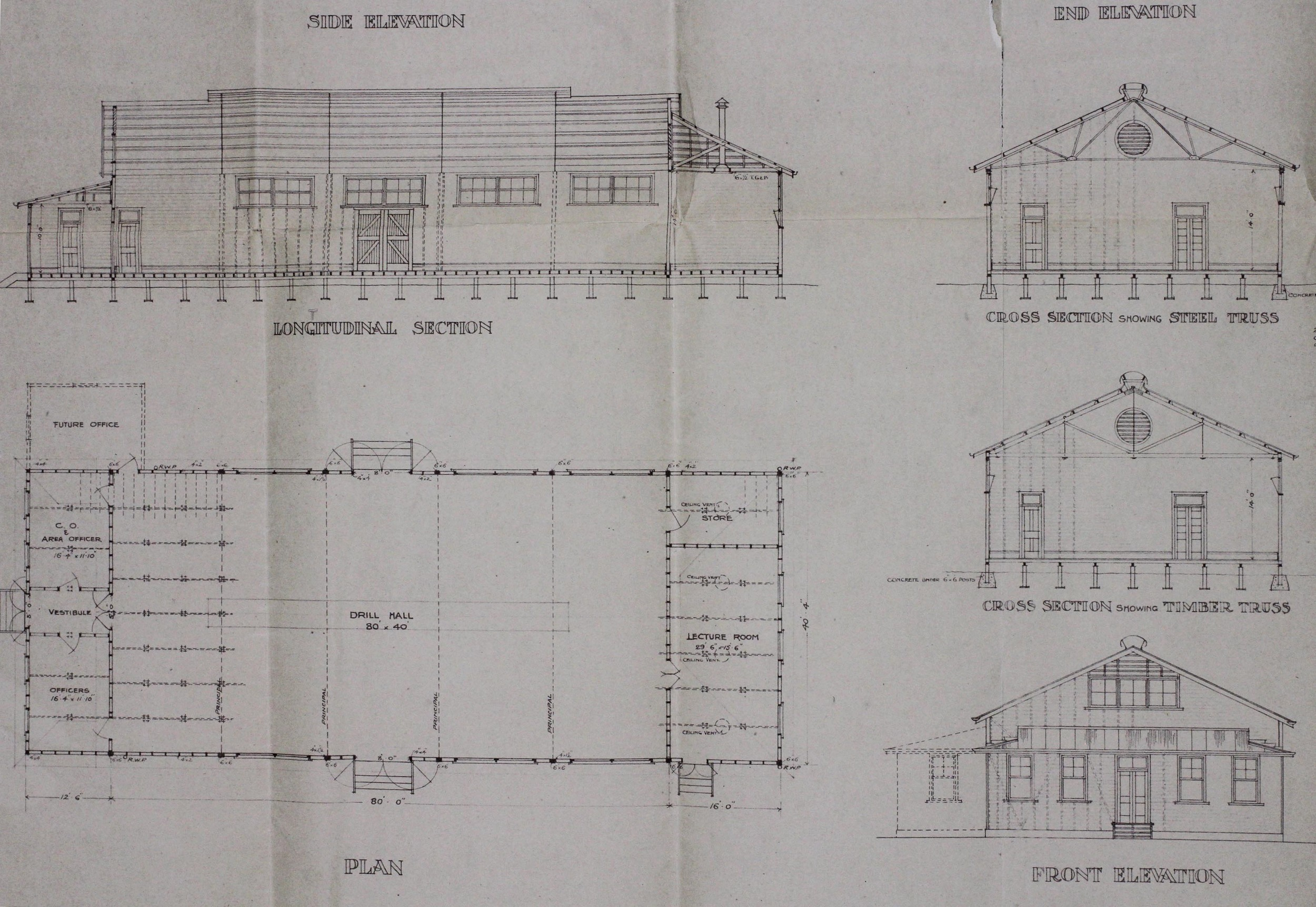 Footscray Drill Hall Plans 1913, MP1142/1, 55/230/44, NAA