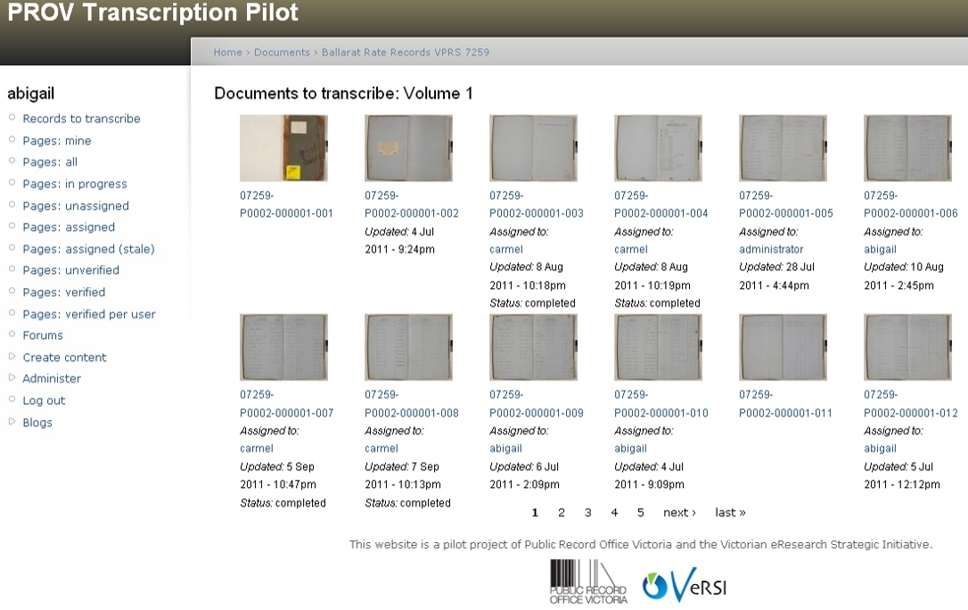Screen shot of 'PROV Crowdsourcing Transcription Pilot' Nov 2011