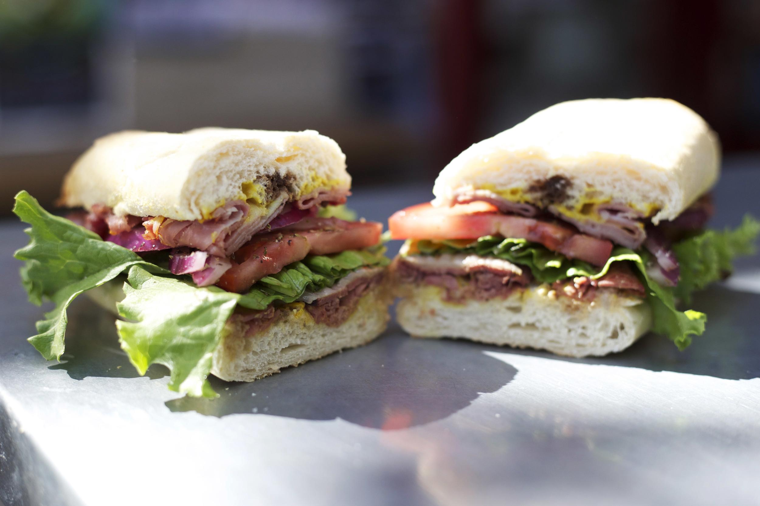 ham • pastrami • salami • provolone • mustard • lettuce tomato • onions • oil & vinegar • salt & pepper • oregano