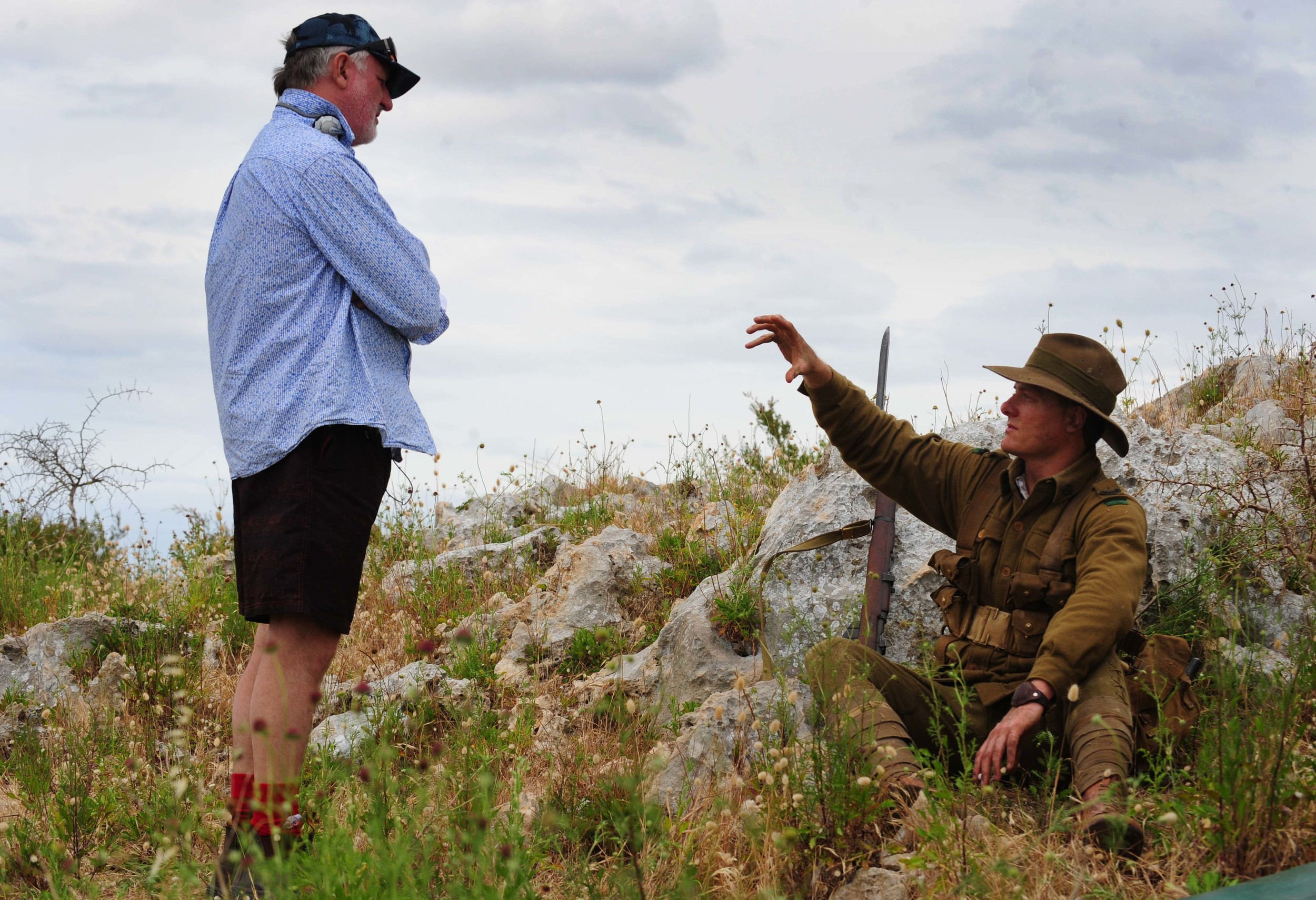 """James Bogle and Myles Pollard on the set of """"The War That Changed Us"""""""
