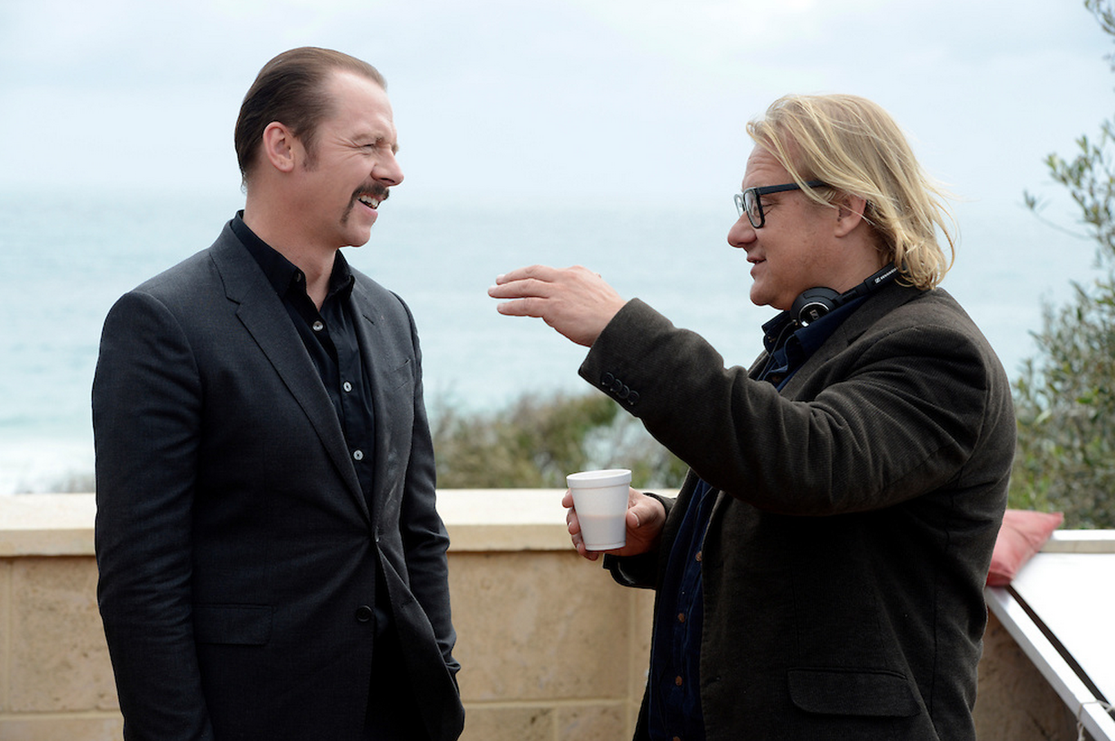 With Simon Pegg on the set of  Kill Me Three Times
