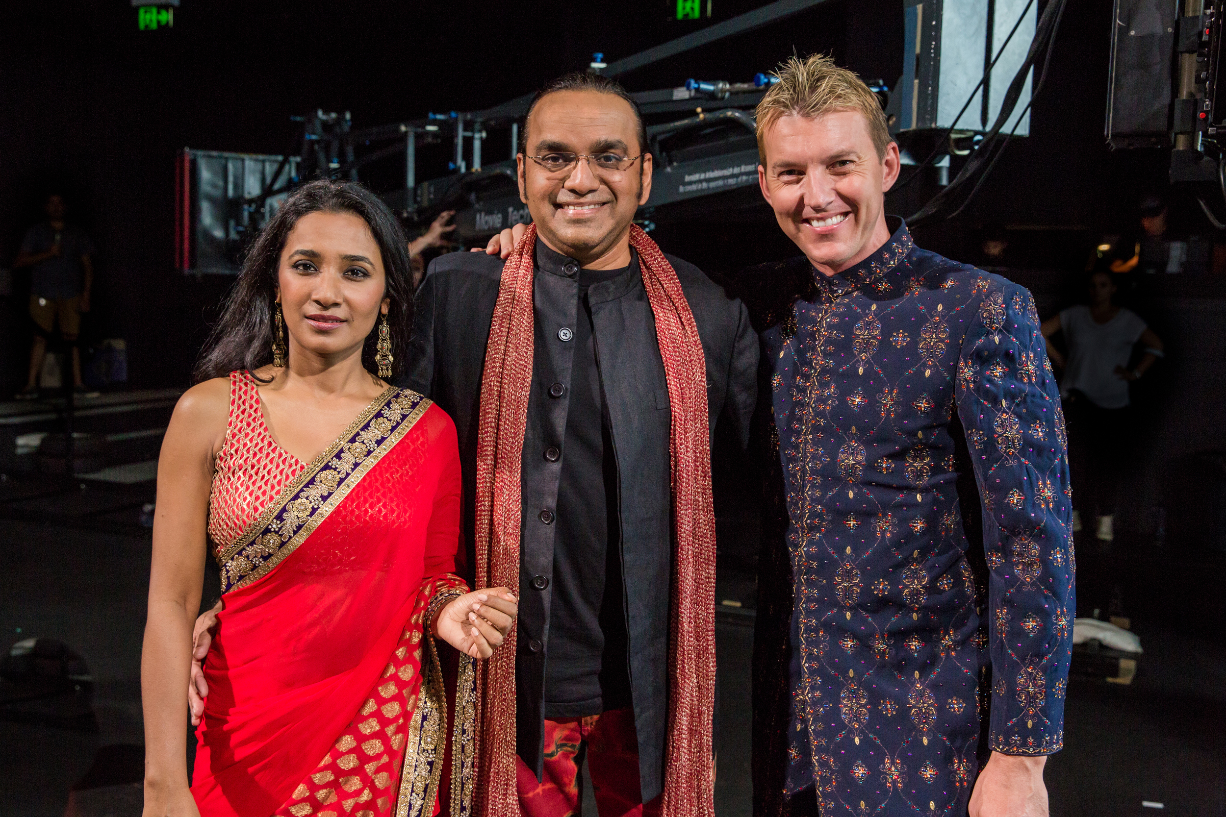 Brett Lee as Will, with producer director Anupam Sharma with Tannishtha Chatterjee as Meera. Photo by Kate Ryan.